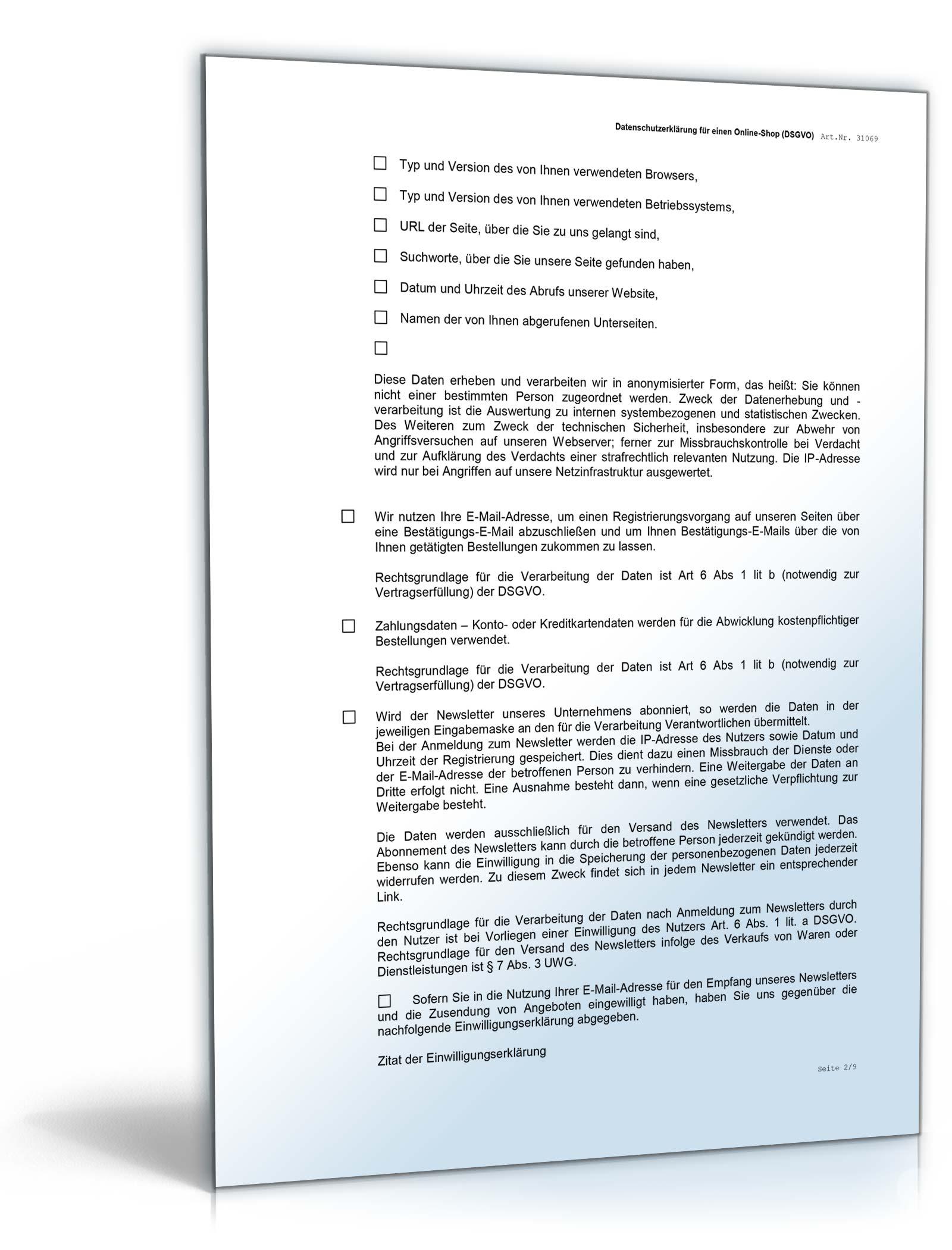datenschutzerklrung online shop dsgvo - Datenschutzerklarung Muster