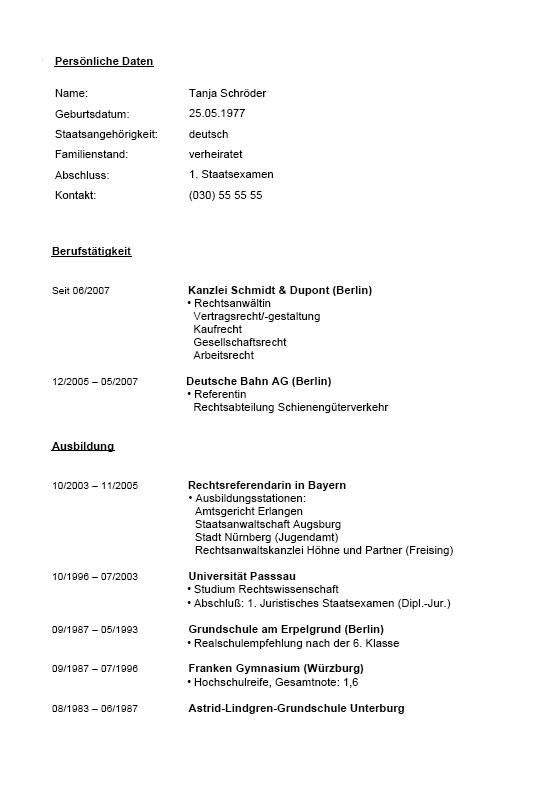 Vorschau blitzbewerbung rechtsanwalt lebenslauf pdf