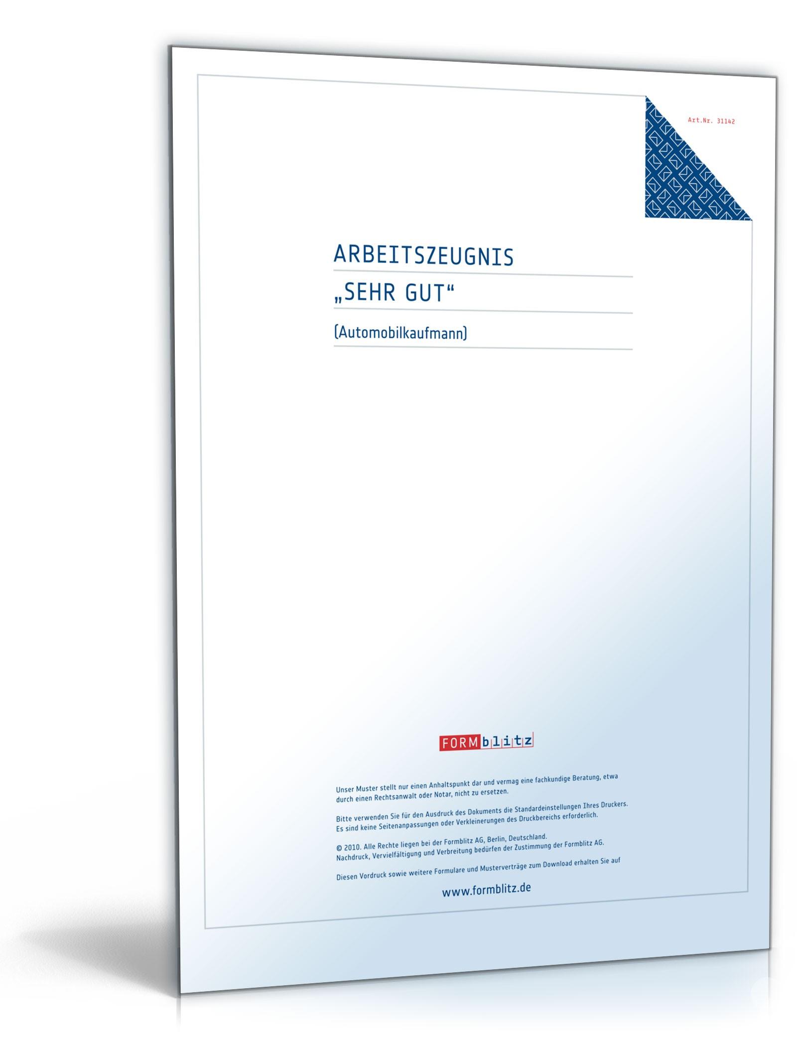 Arbeitszeugnis Automobilkaufleute: Muster zum Download