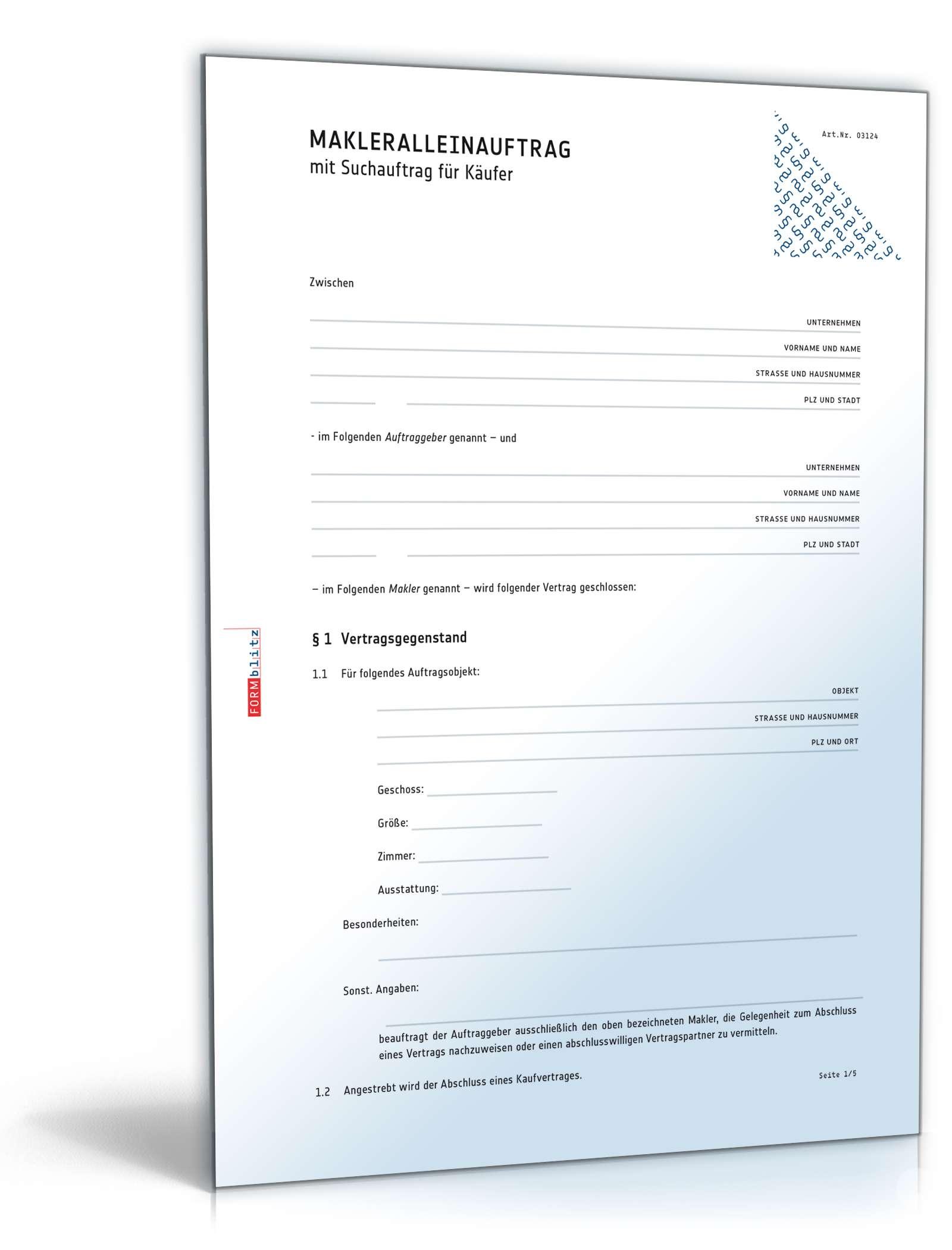 Makleralleinauftrag Suchauftrag Kaufer Muster Zum Download