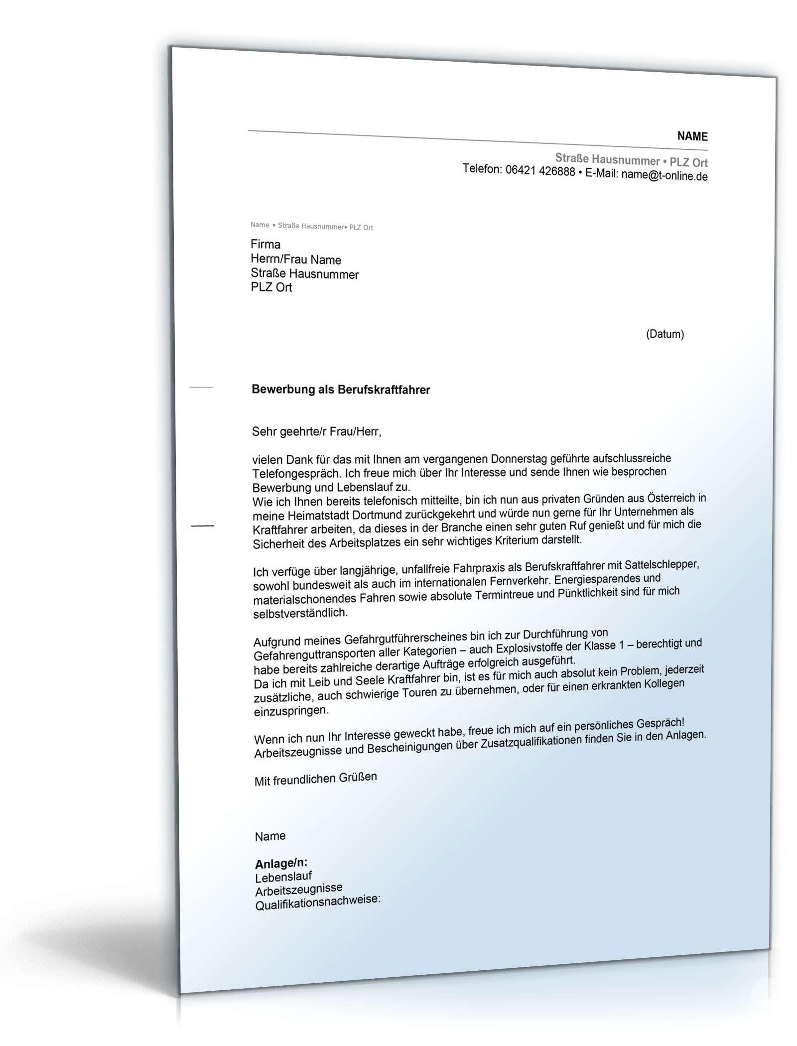 anschreiben bewerbung berufskraftfahrer - Anschreiben Fr Initiativbewerbung