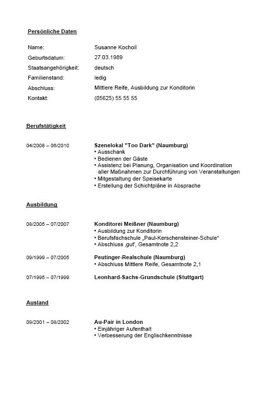 Ausgezeichnet Lebenslauf Für Kellnerin Mit Erfahrung Galerie - Entry ...