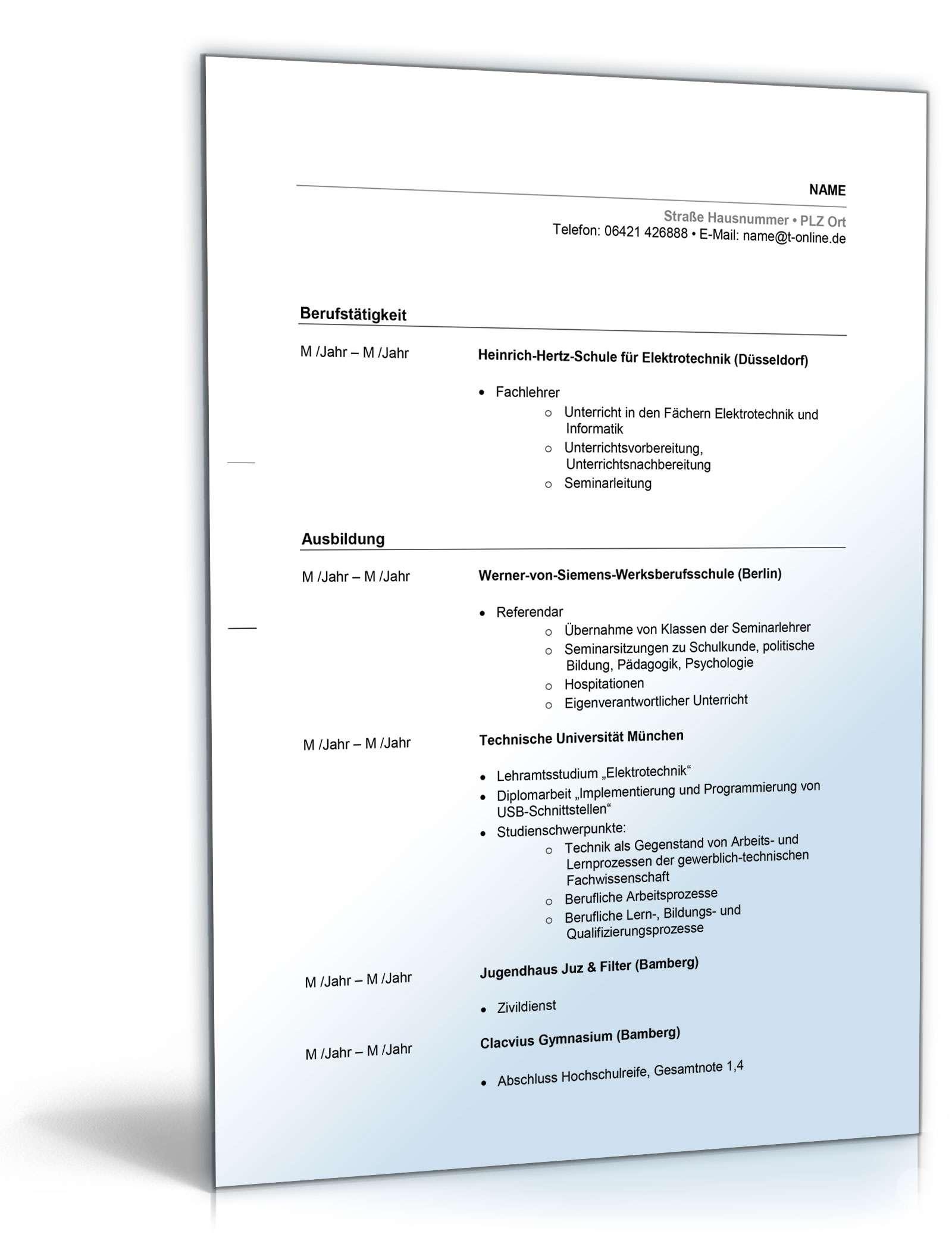 Bewerbung für Lehrer als Muster: Anschreiben & Lebenslauf downloaden