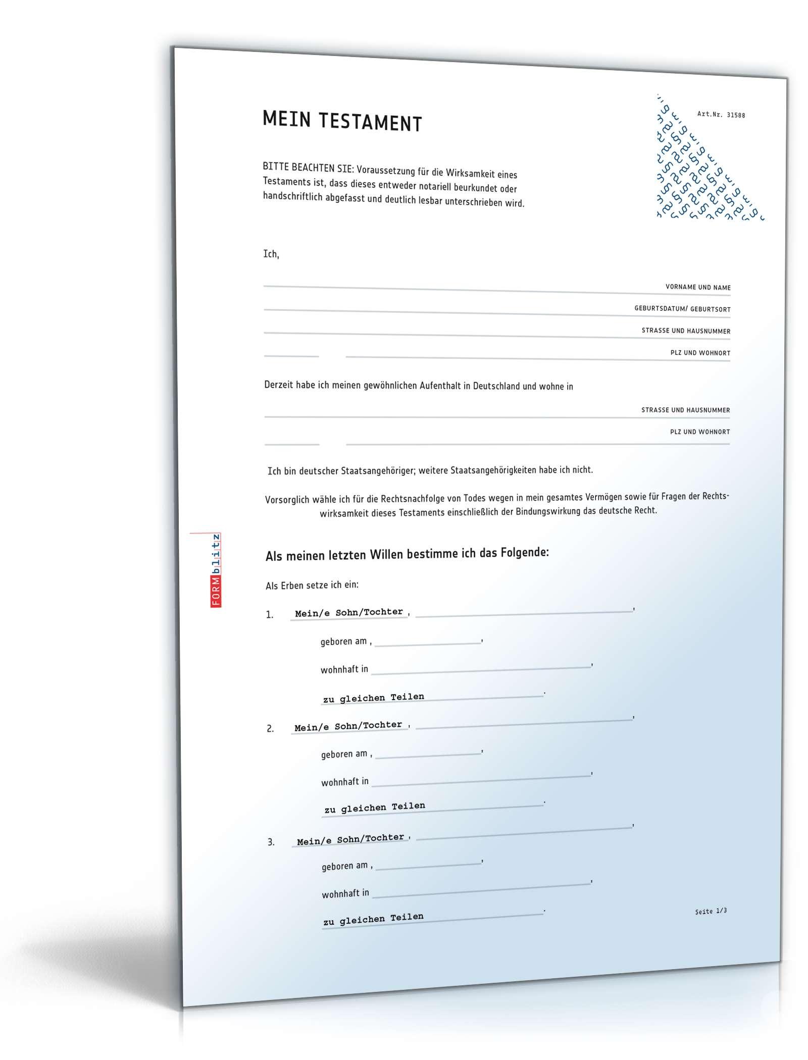 Testament Formulare Zu Testamentarten Mit Tipps Infos