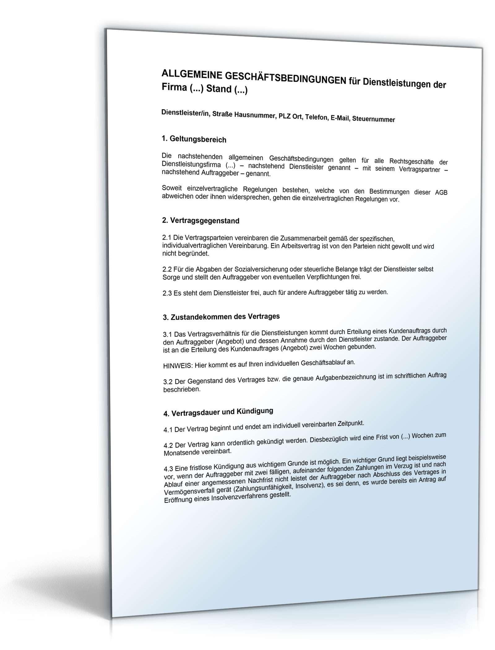 AGB Dienstleistungen | Muster für Dienstleistungsvertrag