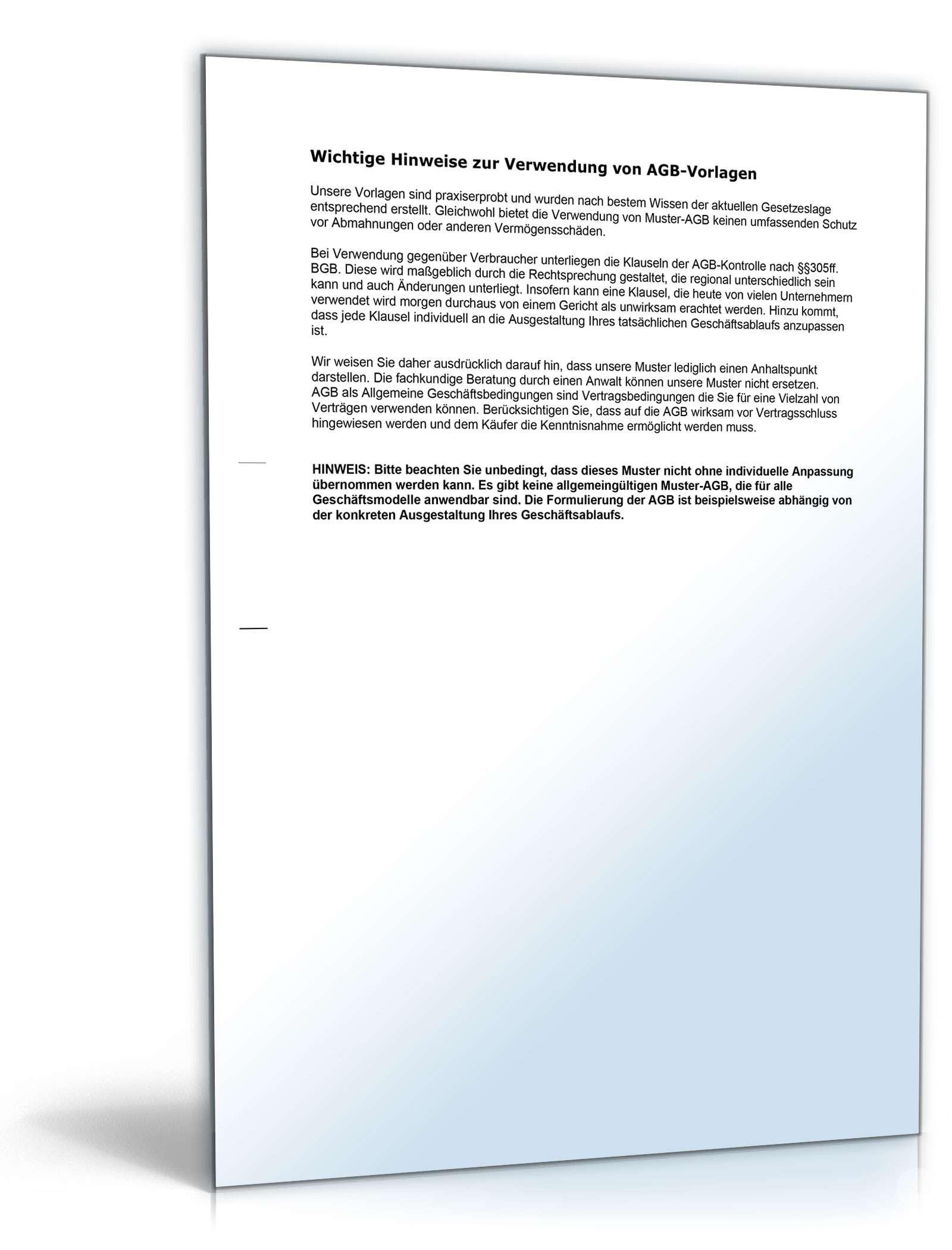 Agb Dienstleistungen Muster Für Dienstleistungsvertrag