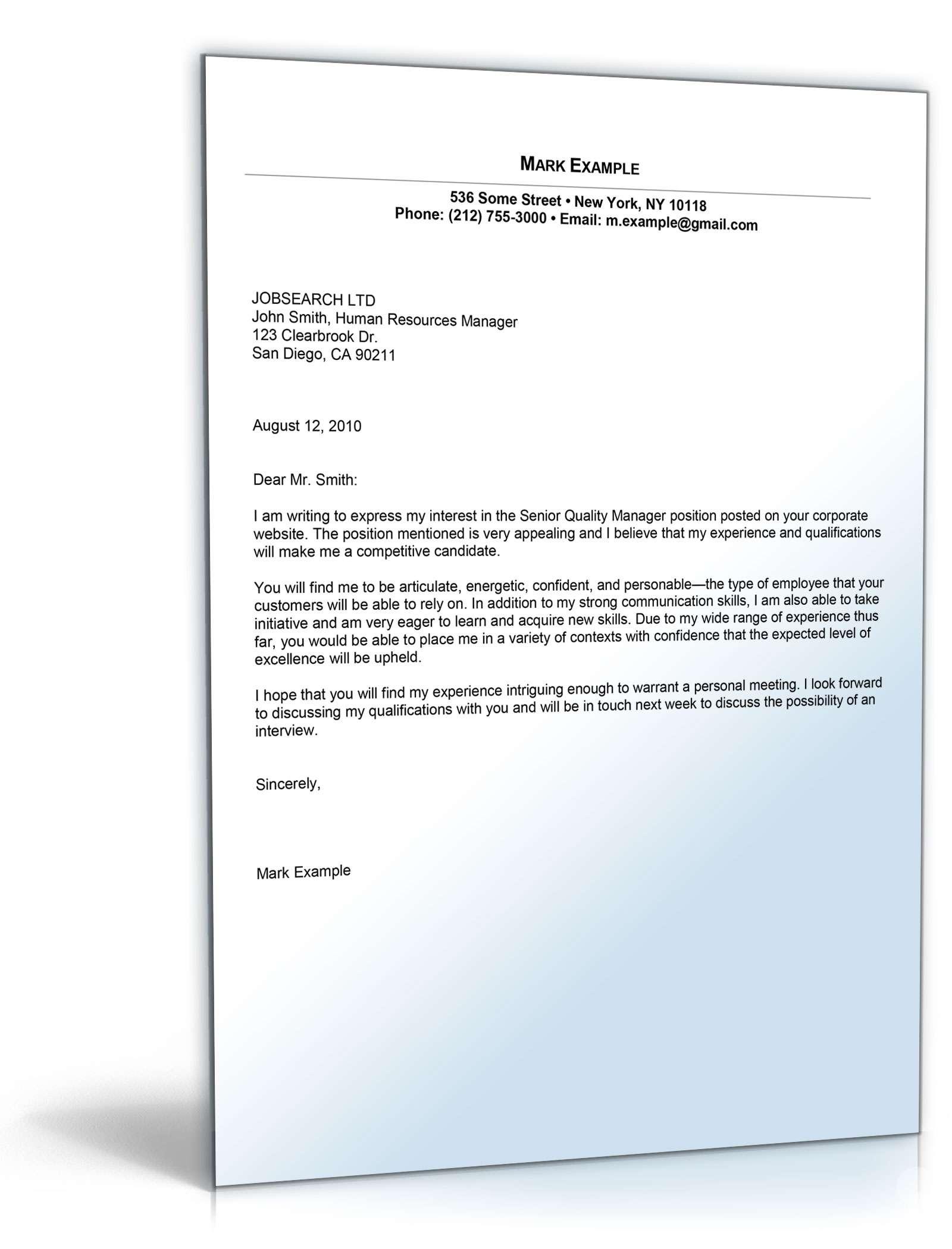 Bewerbung Management (Englisch) | Muster zum Download
