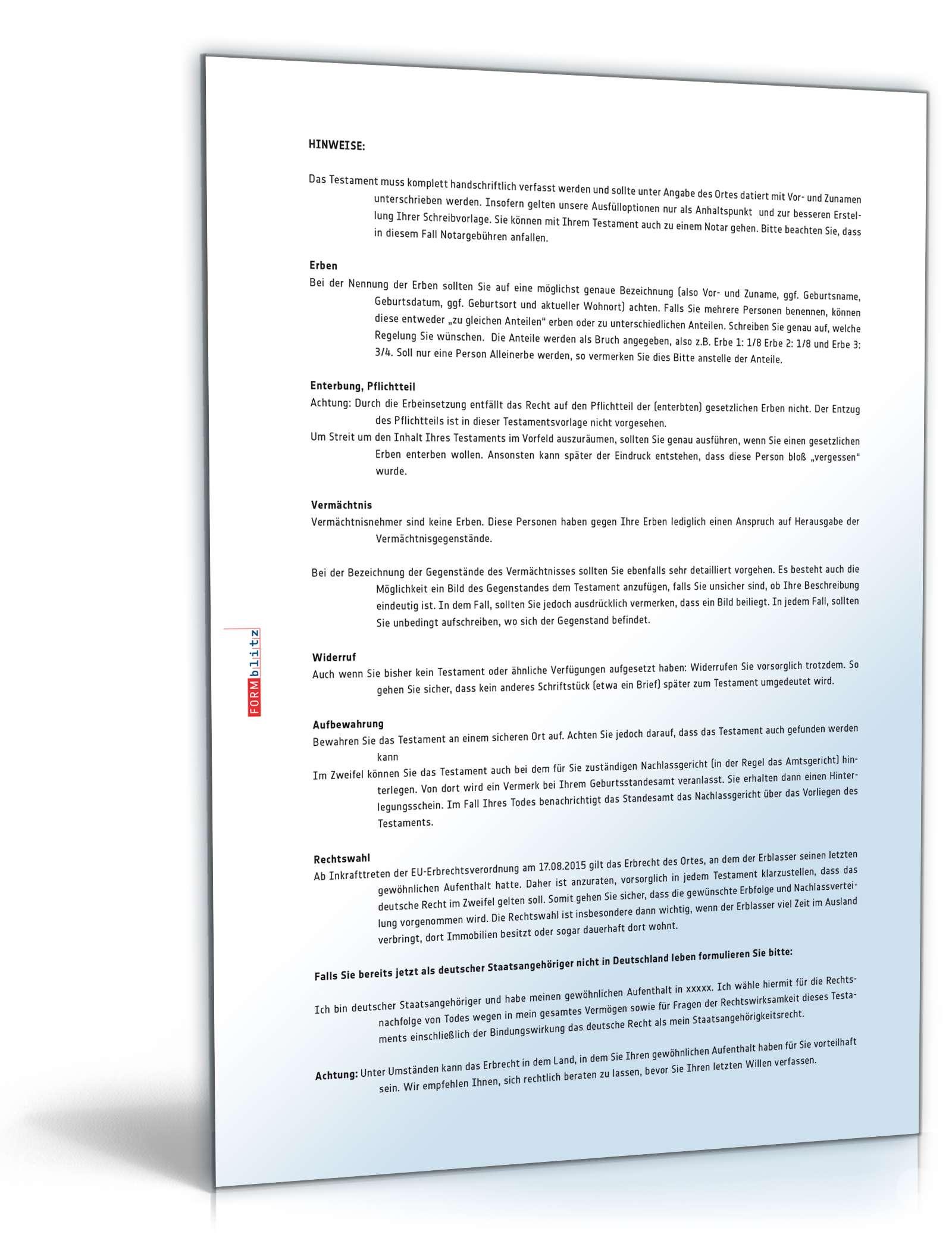 Musterbriefe Notar : Gemeinschaftliches testament muster zum download