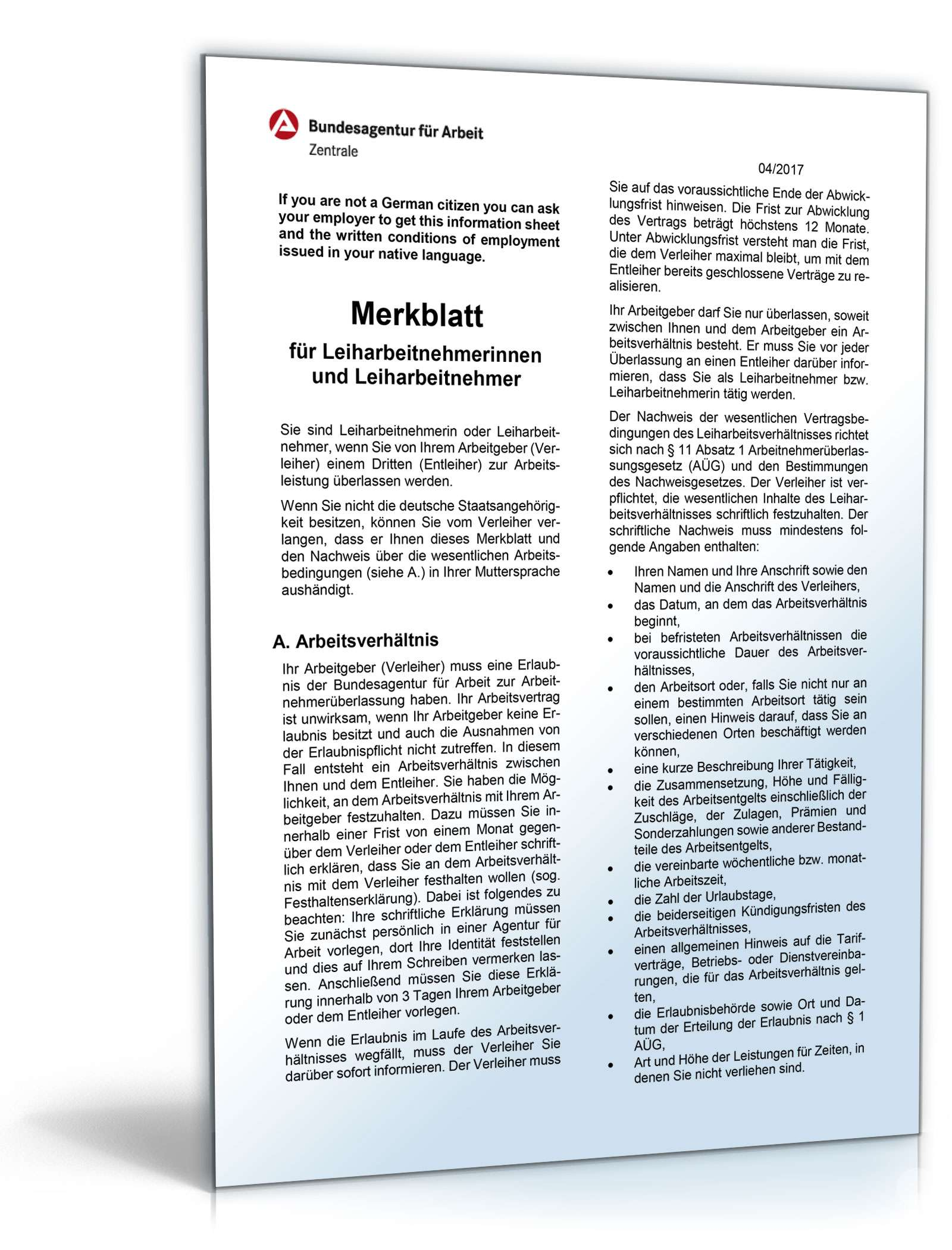 Merkblatt Für Leiharbeitnehmer Formular Zum Download