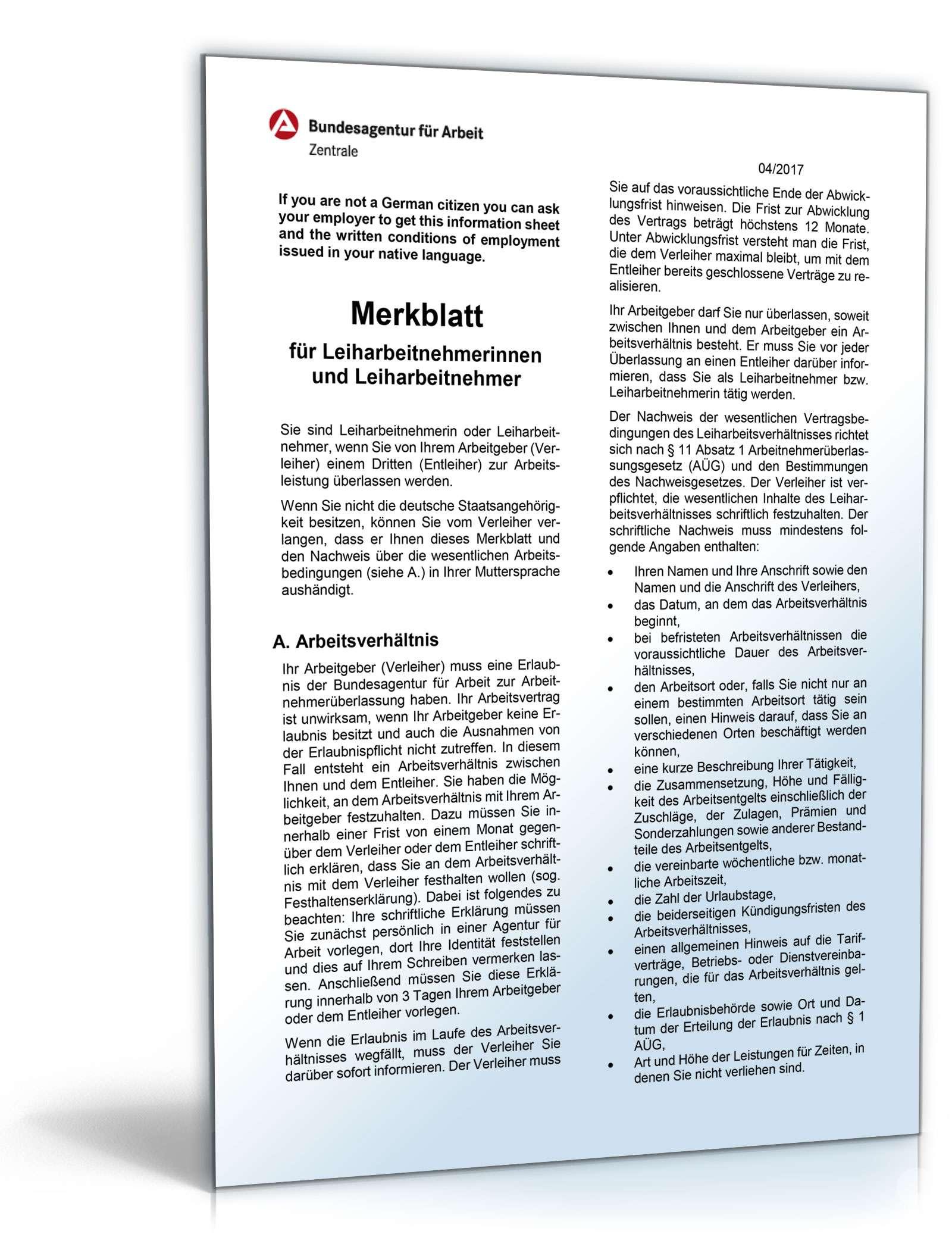 merkblatt fr leiharbeitnehmer - Arbeitnehmeruberlassungsvertrag Muster