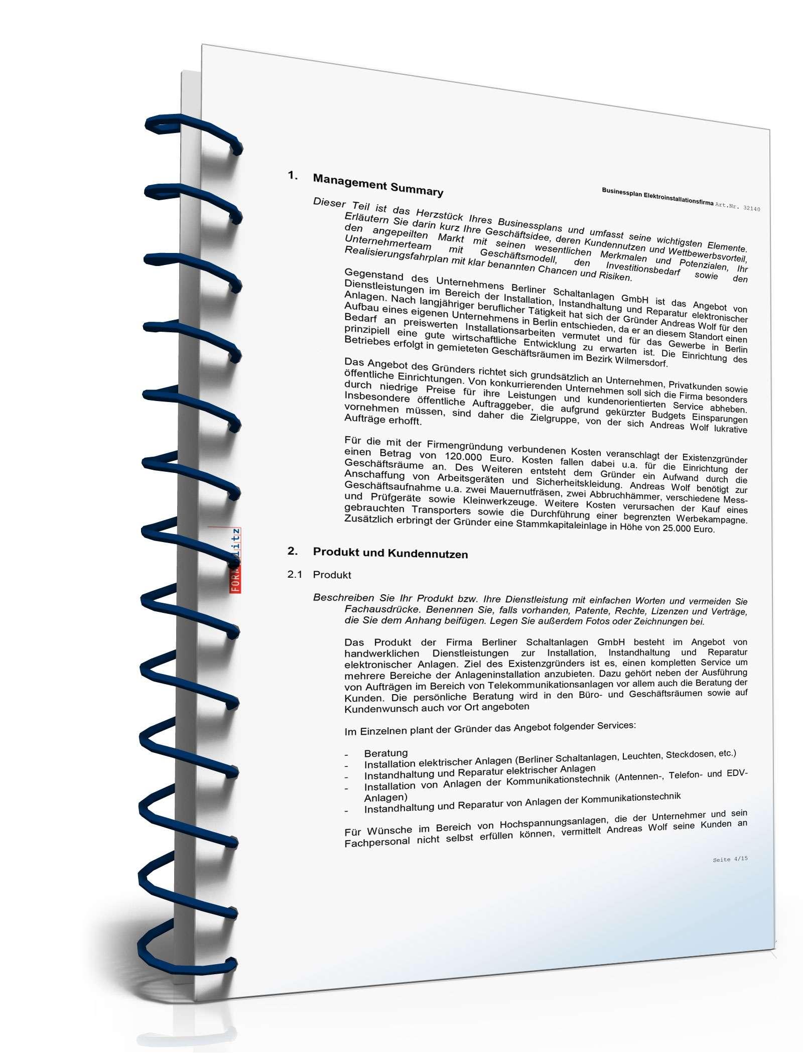 Businessplan Elektroinstallationsbetrieb | Muster zum Download
