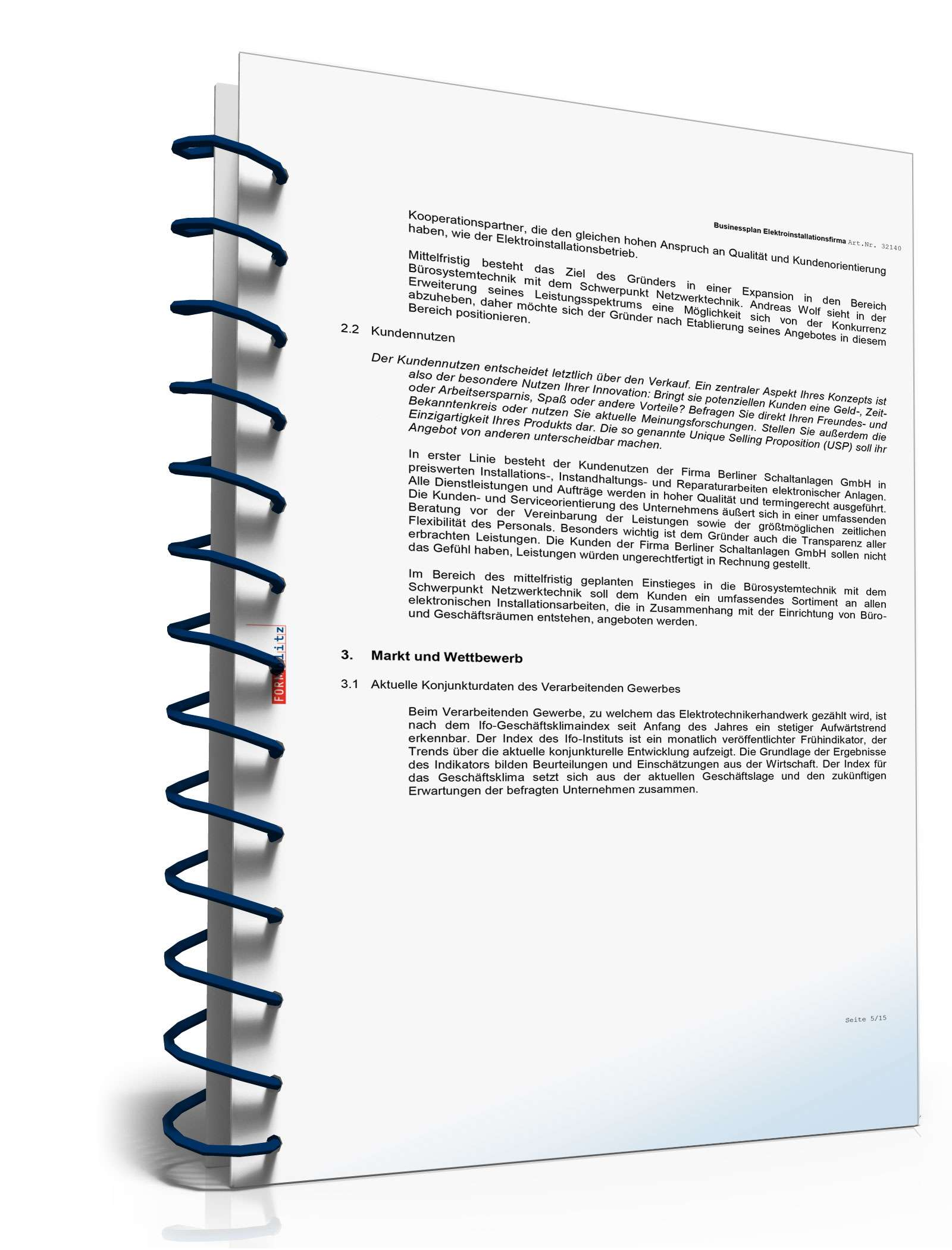 Businessplan Elektroinstallationsbetrieb Muster Zum Download