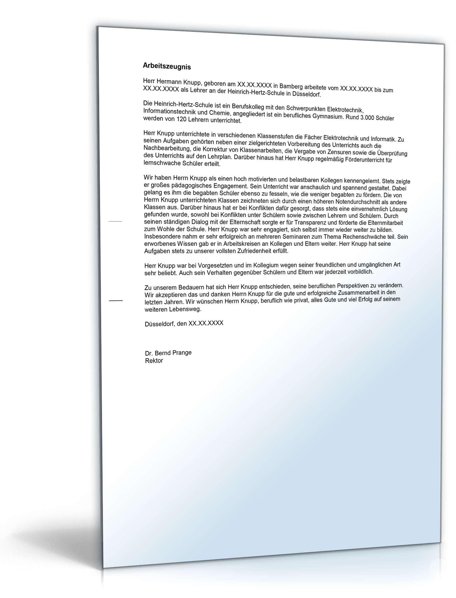 Arbeitszeugnis Lehrer: Rechtssichere Muster zum Download