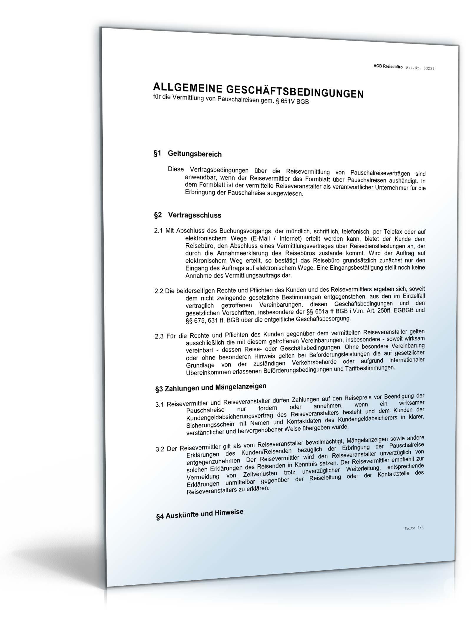 Agb Reisebüro Rechtssicheres Muster Zum Download
