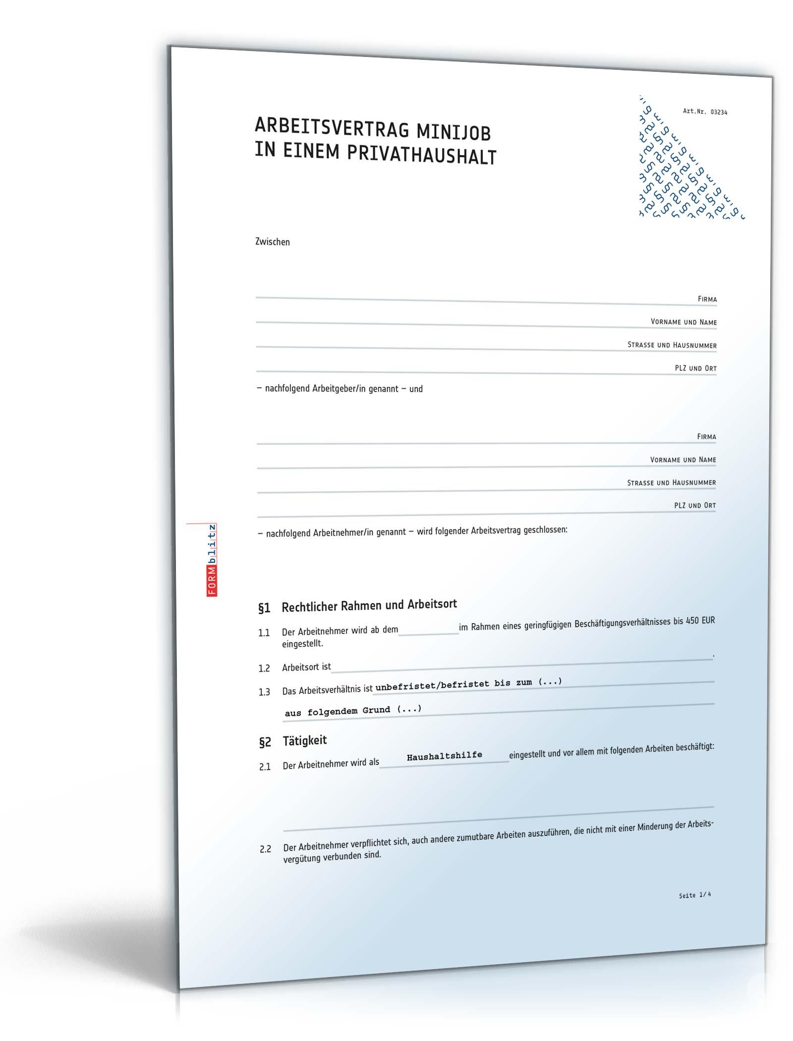 Arbeitsvertrag Minijob Privathaushalt Muster Zum Download