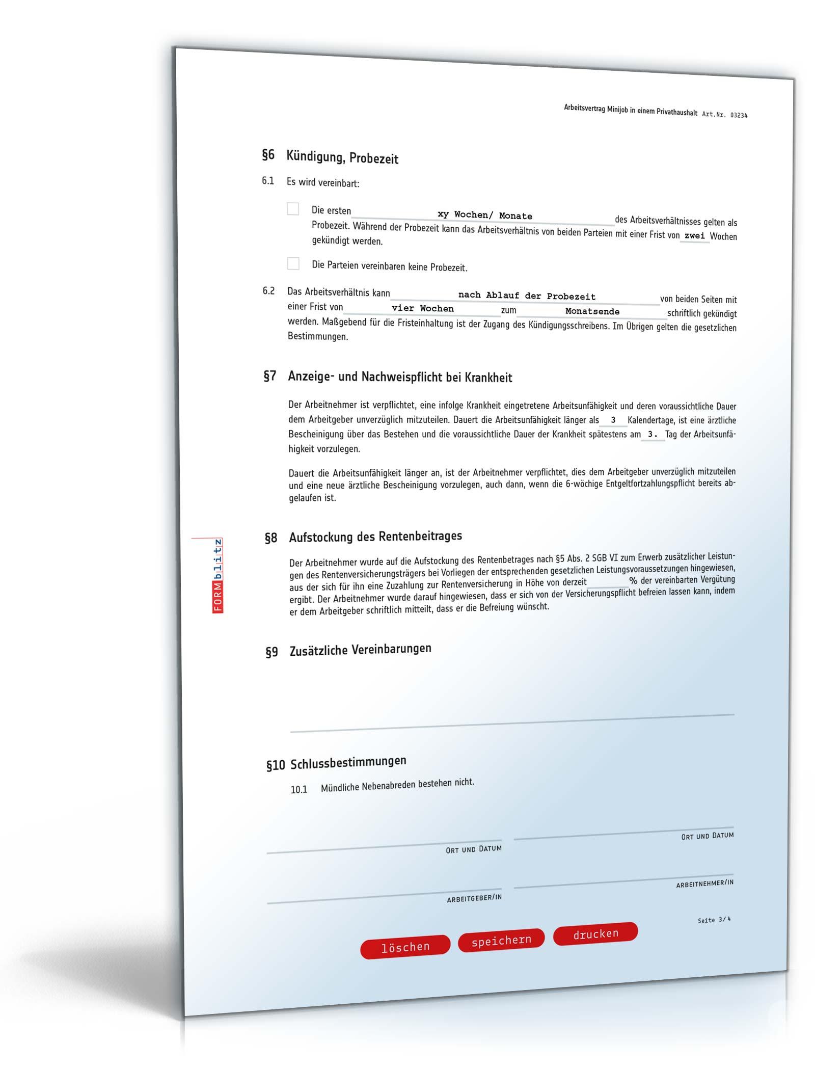 arbeitsvertrag minijob in einem privathaushalt pdf seite 03 - Arbeitsvertrag Muster Minijob