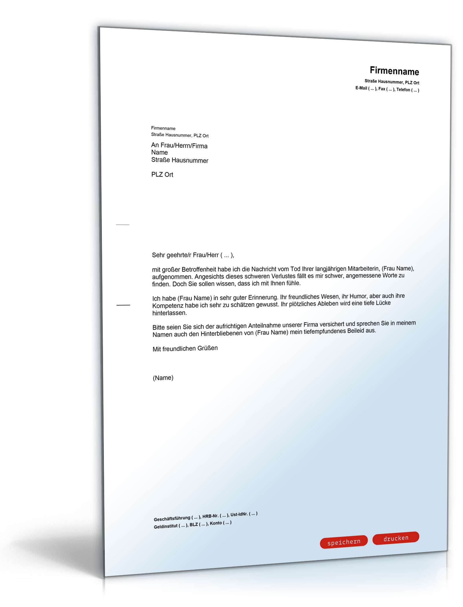 kondolenzschreiben an geschftsfhrer zum tod einer mitarbeiterin - Kondolenzbrief Muster