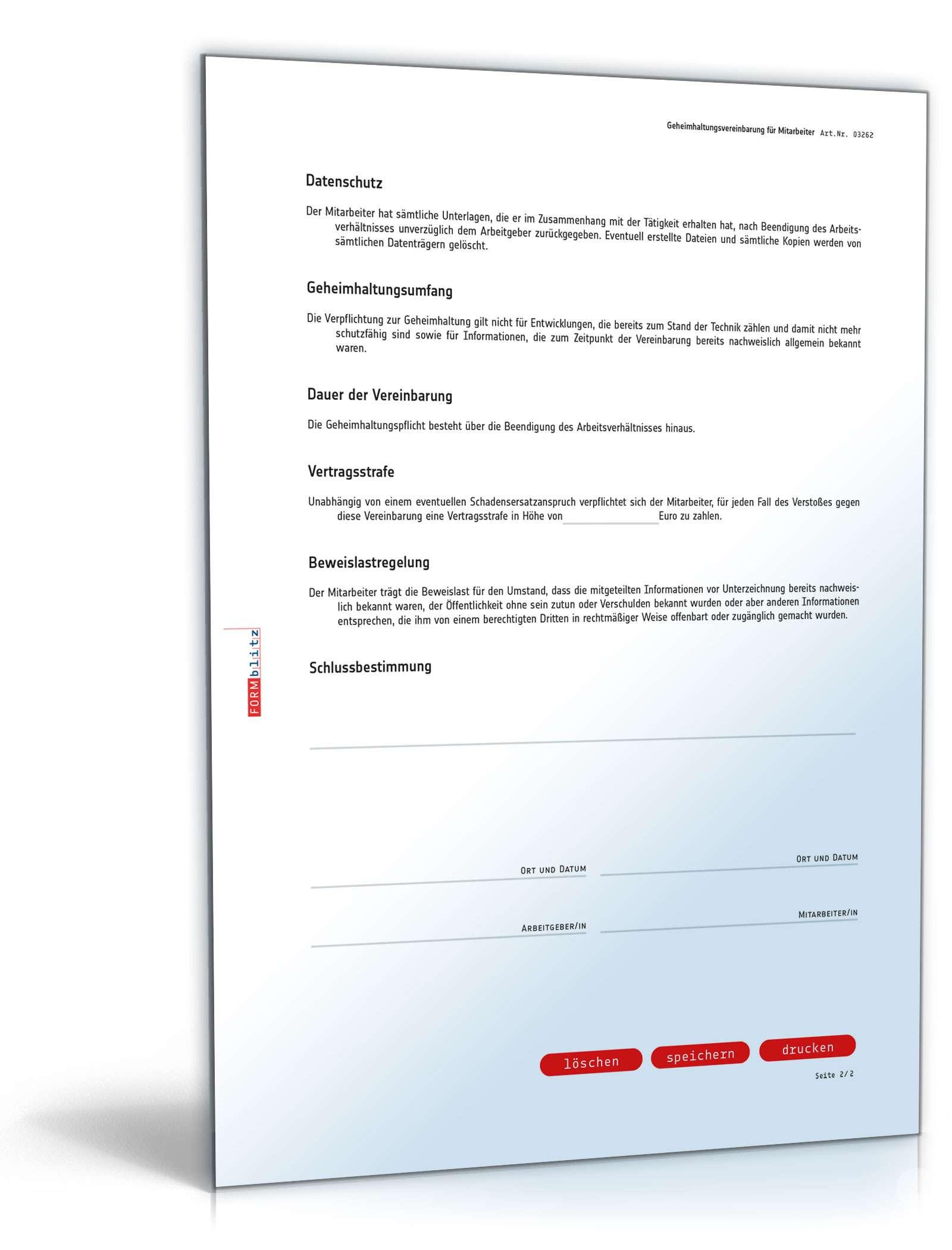 Geheimhaltungsvereinbarung für Mitarbeiter | Vorlage zum Download