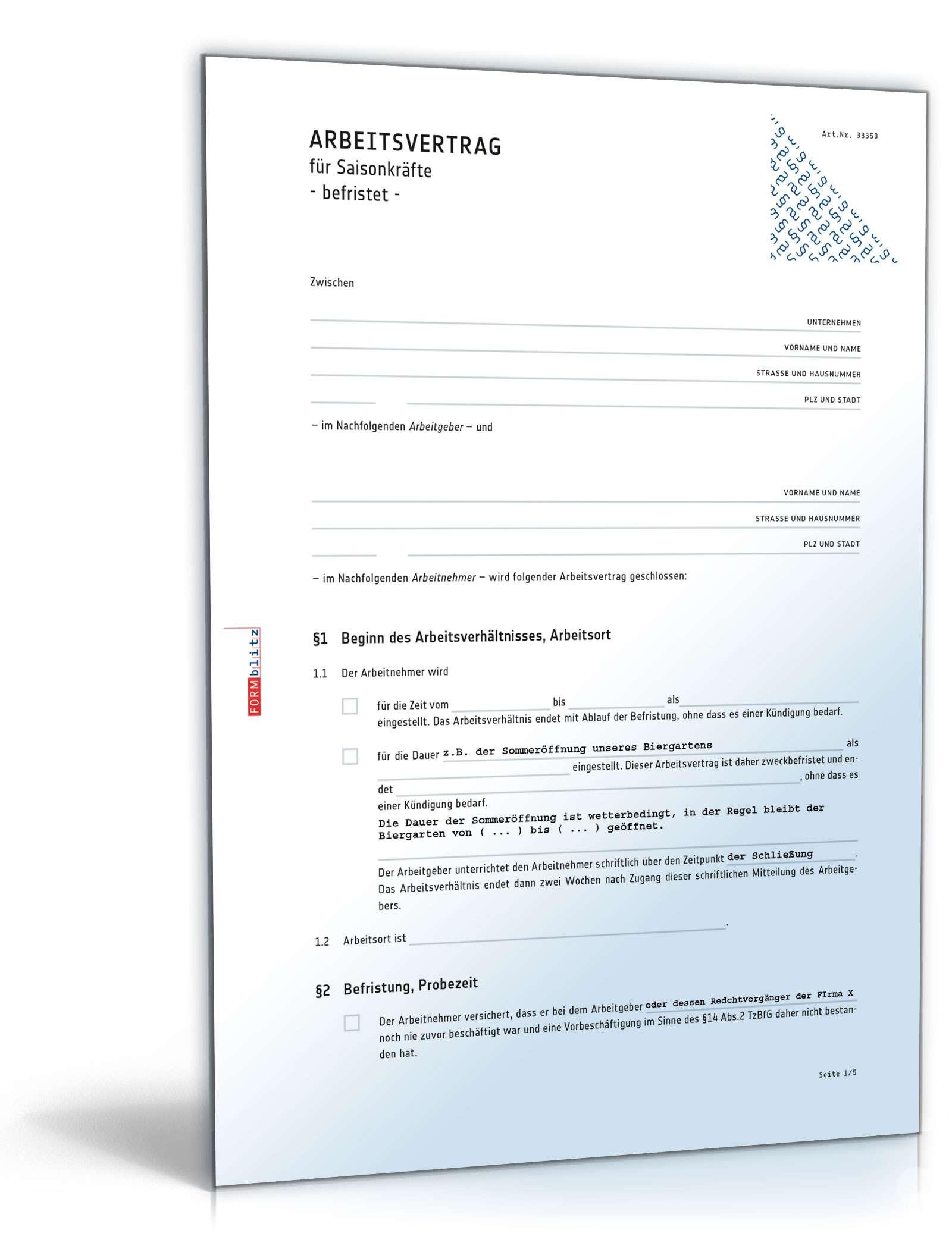 Arbeitsvertrag befristet Saisonkräfte | Muster zum Download