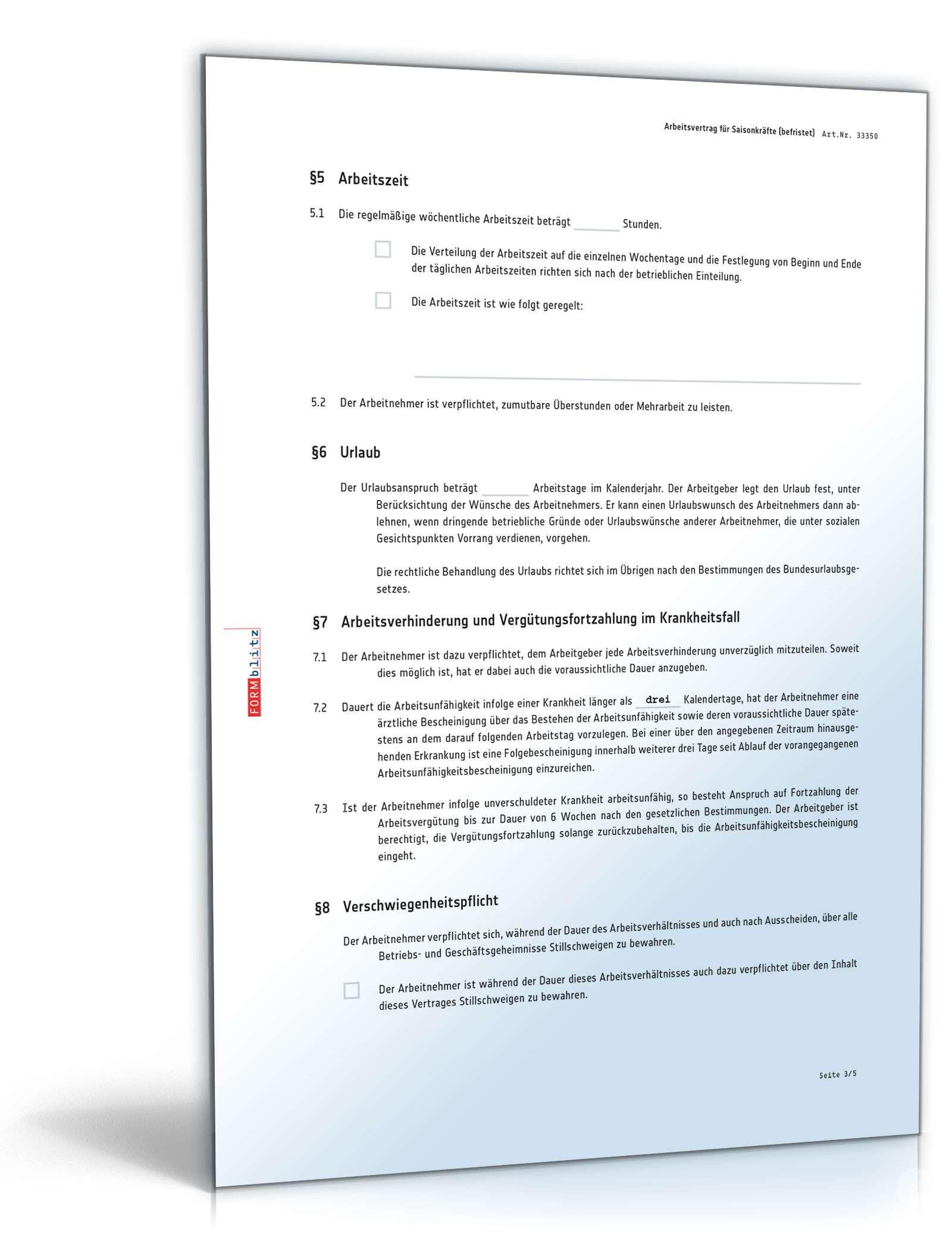 Arbeitsvertrag Befristet Saisonkräfte Muster Zum Download