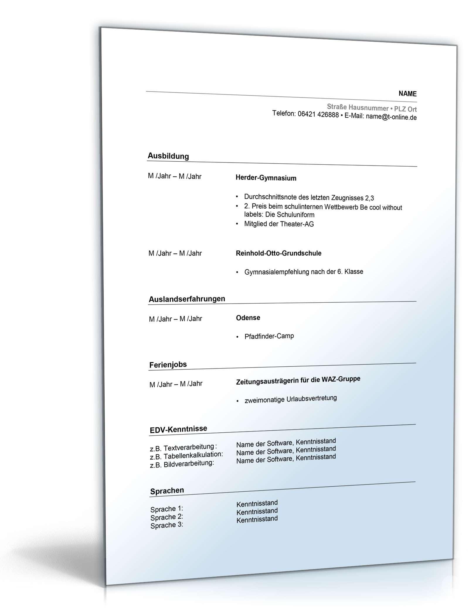 Gemütlich Lebenslauf Für Die Letzte Abiturprobe Ideen - Entry Level ...