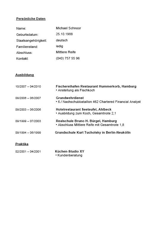 Bewerbung koch kostenloses muster pdf und doc zum download for Als koch in die usa