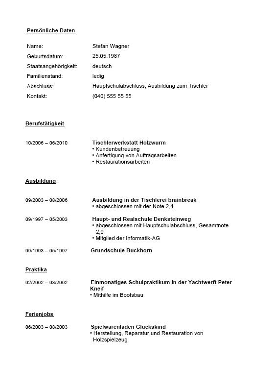 Bewerbungsschreiben Muster Bewerbungsschreiben Tischler