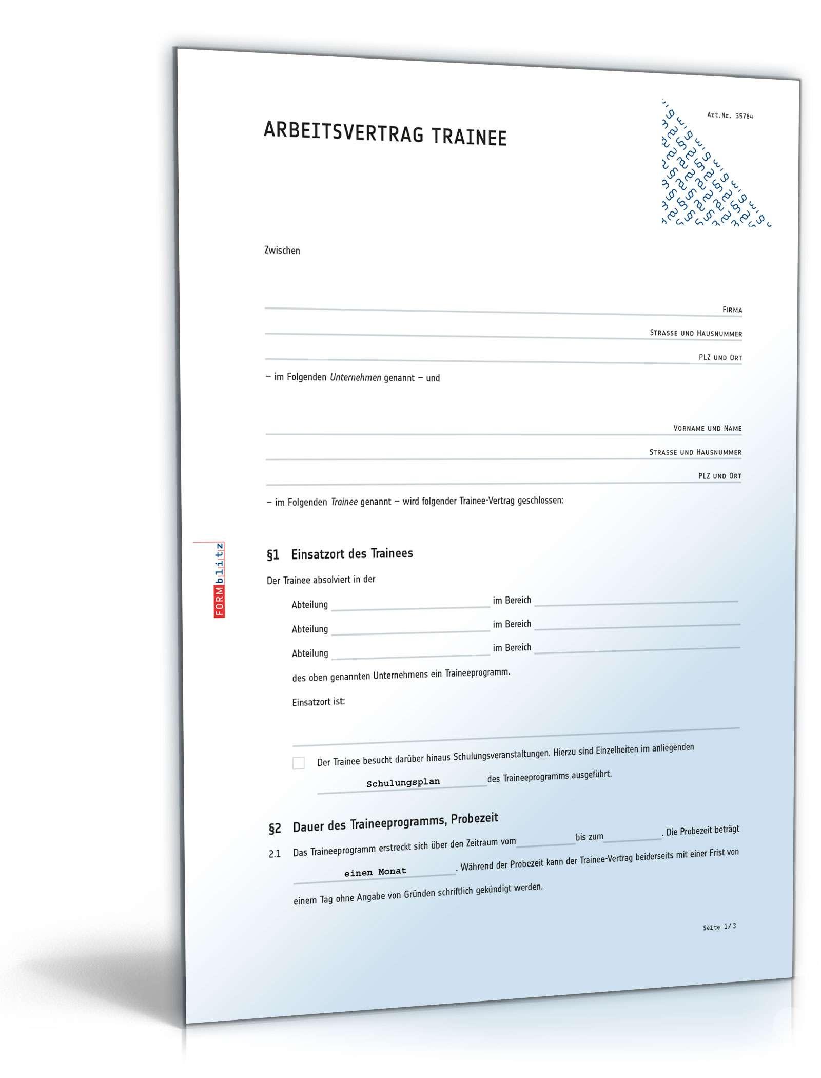 Arbeitsvertrag Trainee Anwaltsgeprüftes Muster Zum Download