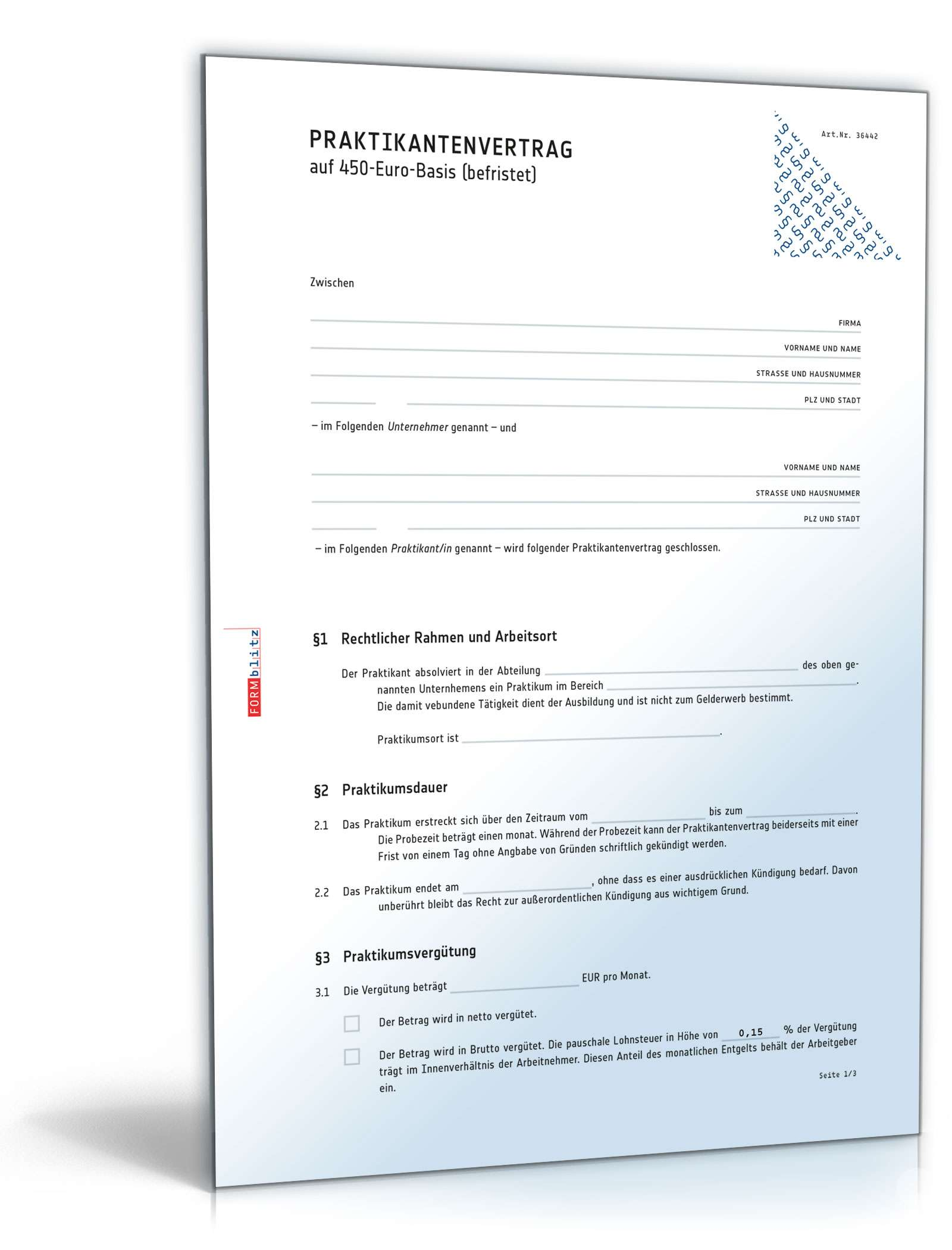 Praktikantenvertrag Minijob Muster Zum Download