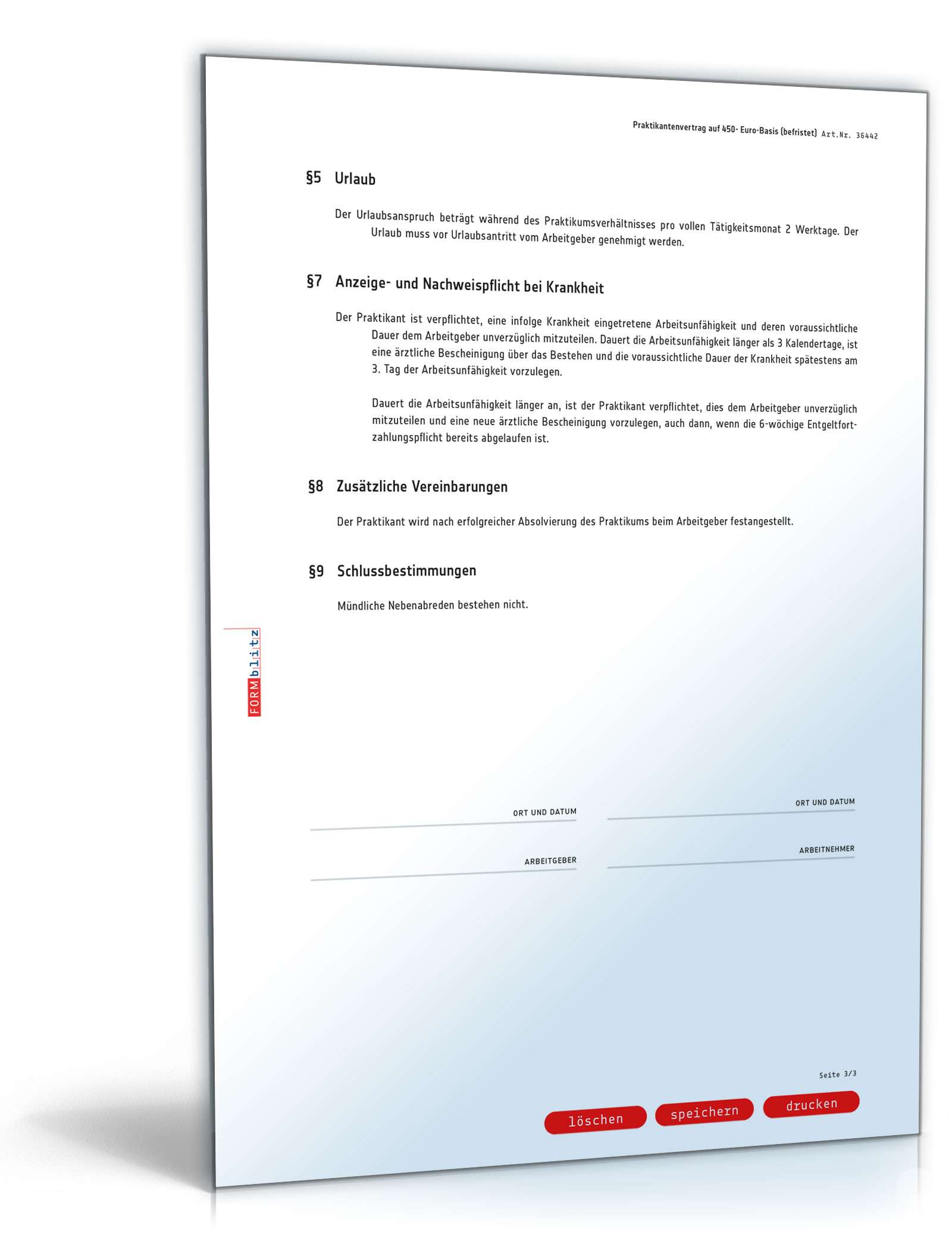 Praktikantenvertrag Minijob Muster Zum Download