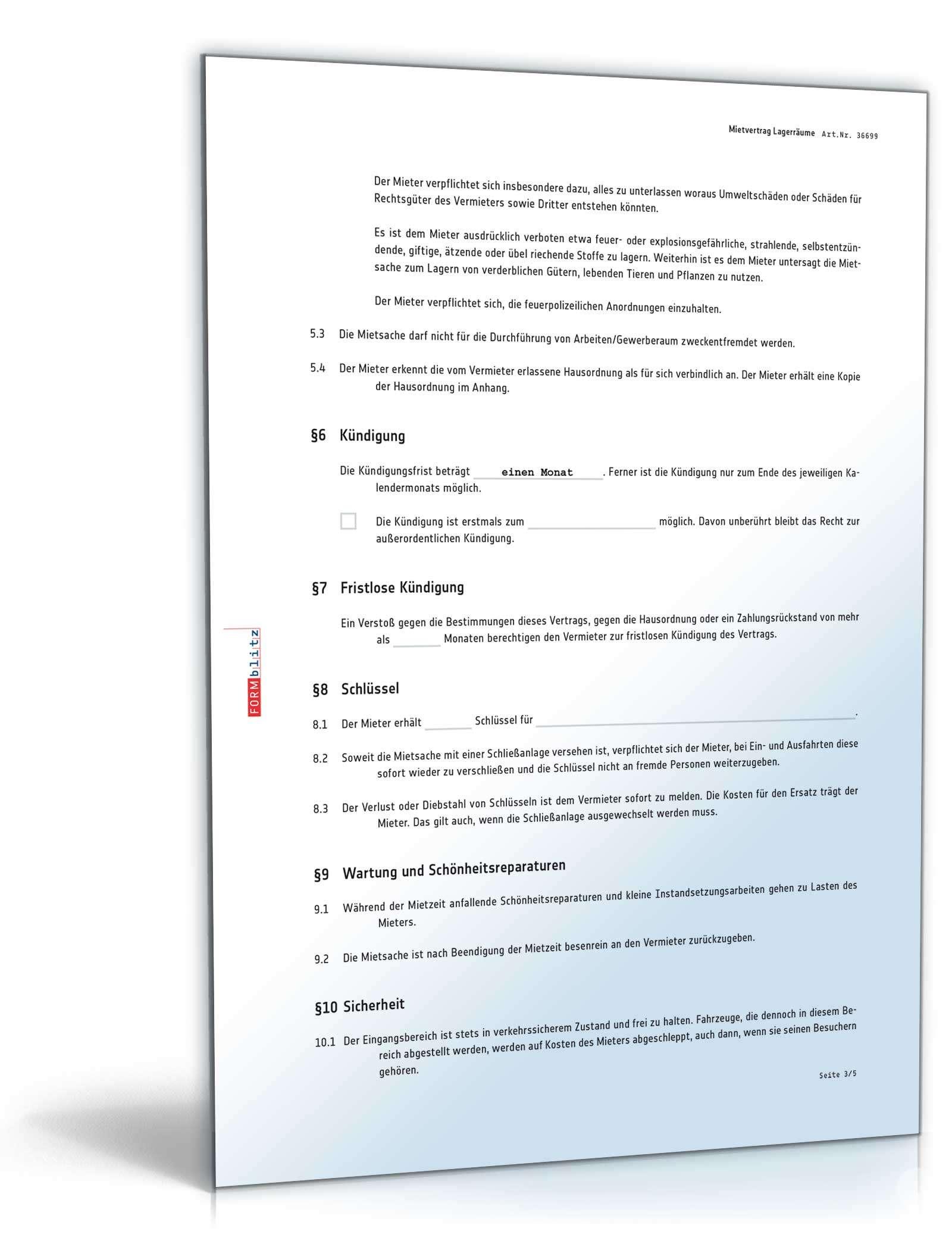 mietvertrag lagerrauml - Fristlose Kndigung Wohnung Muster
