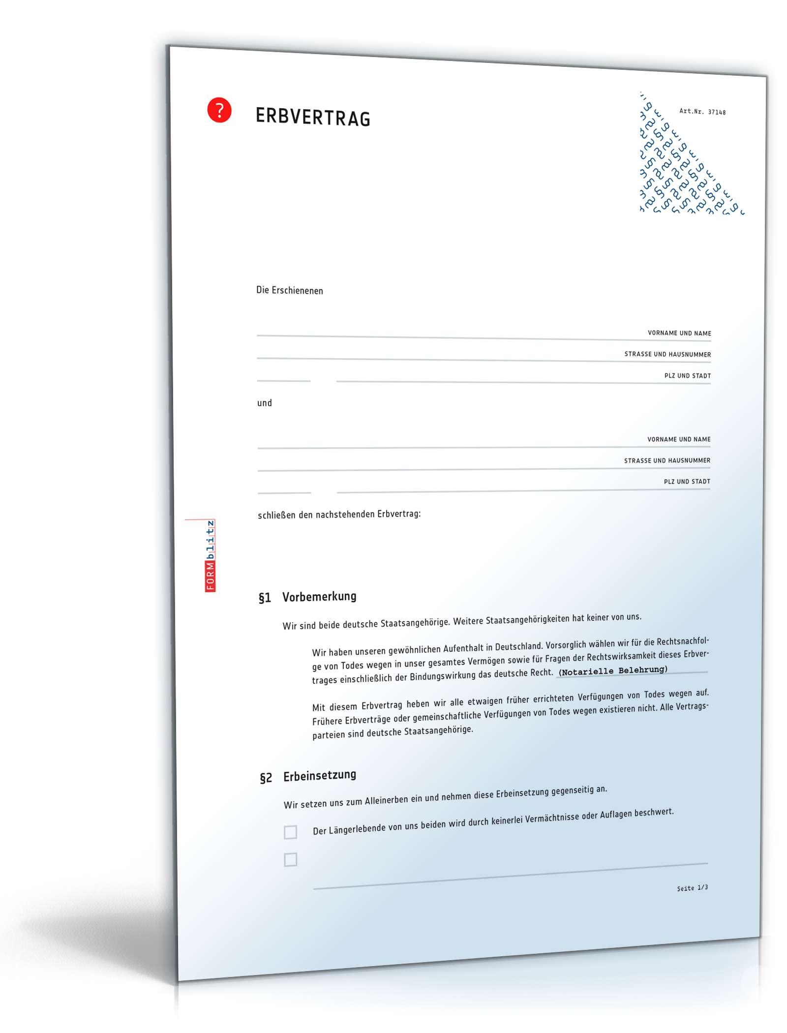 erbvertrag download rechtssicheres muster zur nachlassregelung - Erbvertrag Muster