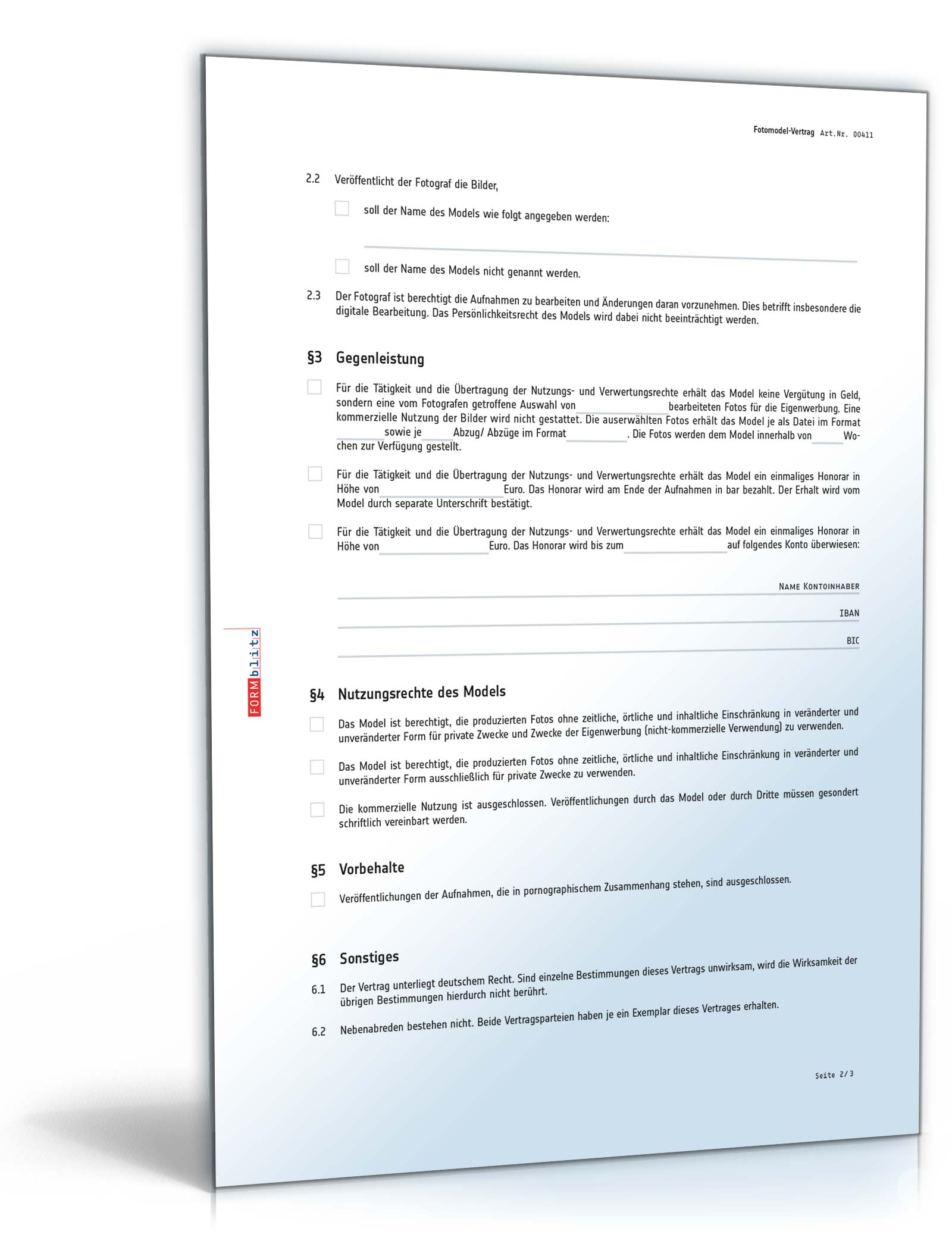Fotomodel Vertrag Rechtssicheres Muster Zum Download