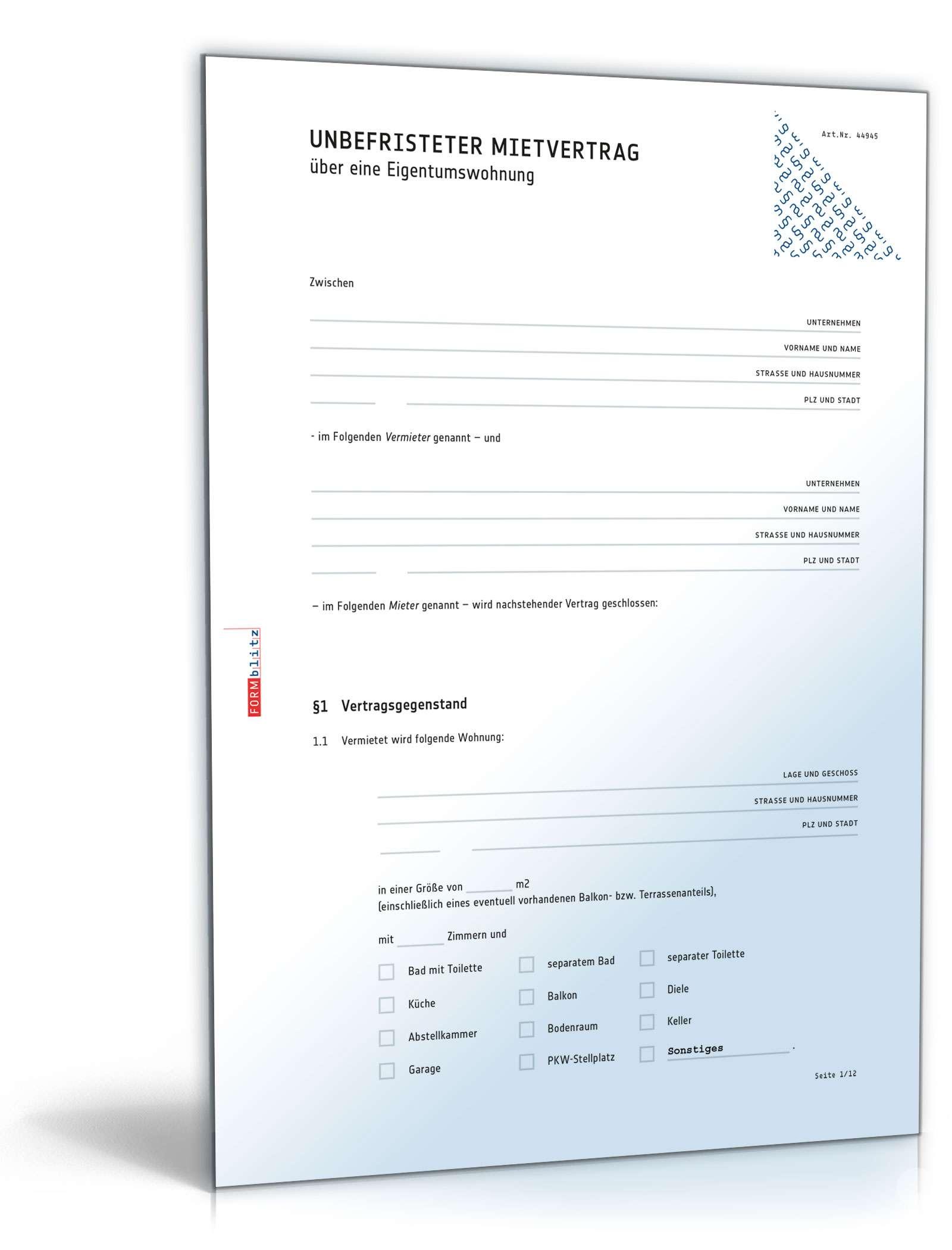 Mietvertrag Eigentumswohnung Rechtssichere Vorlage Zum Download