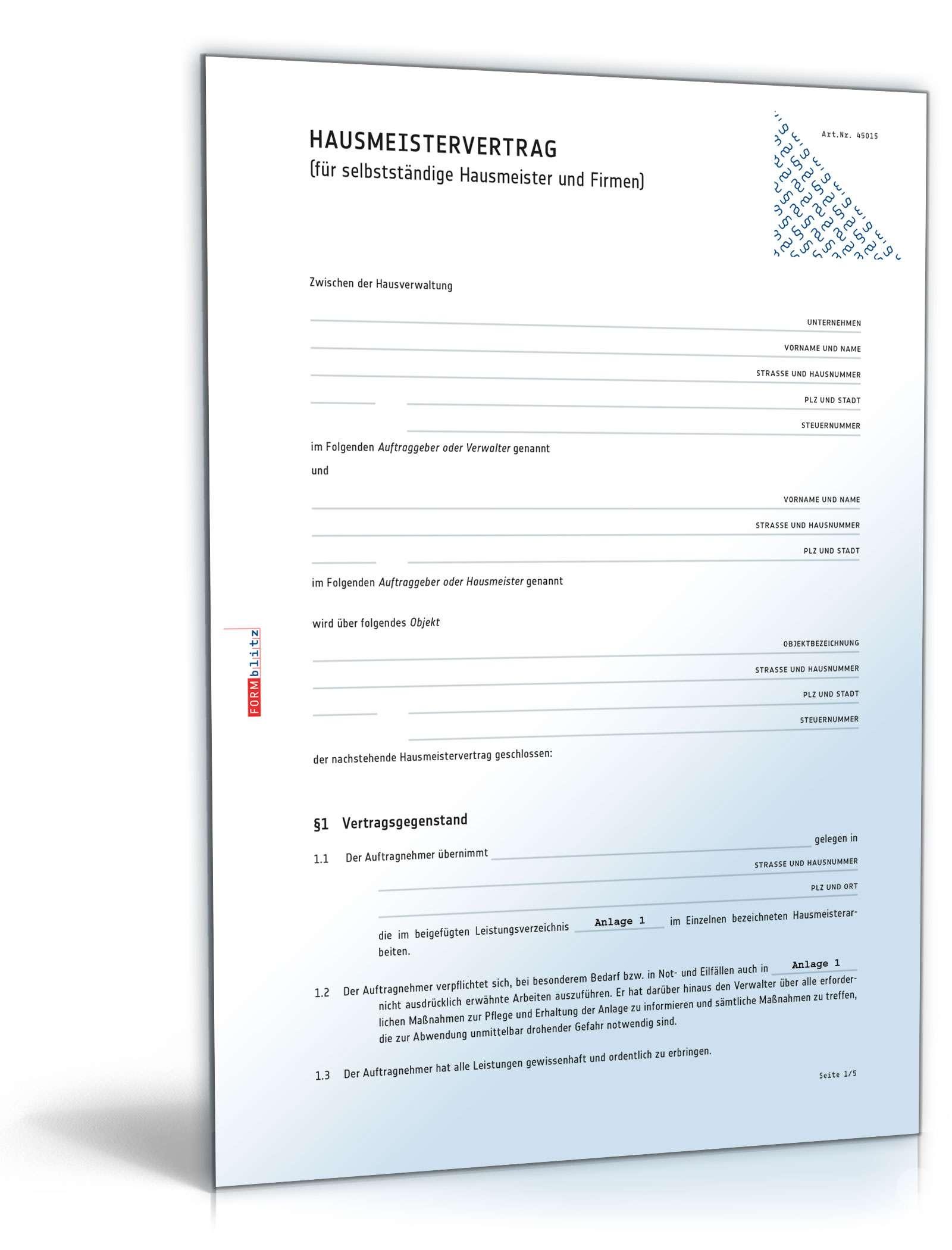 Hausmeistervertrag Selbständiger Hausmeister Muster Zum Download
