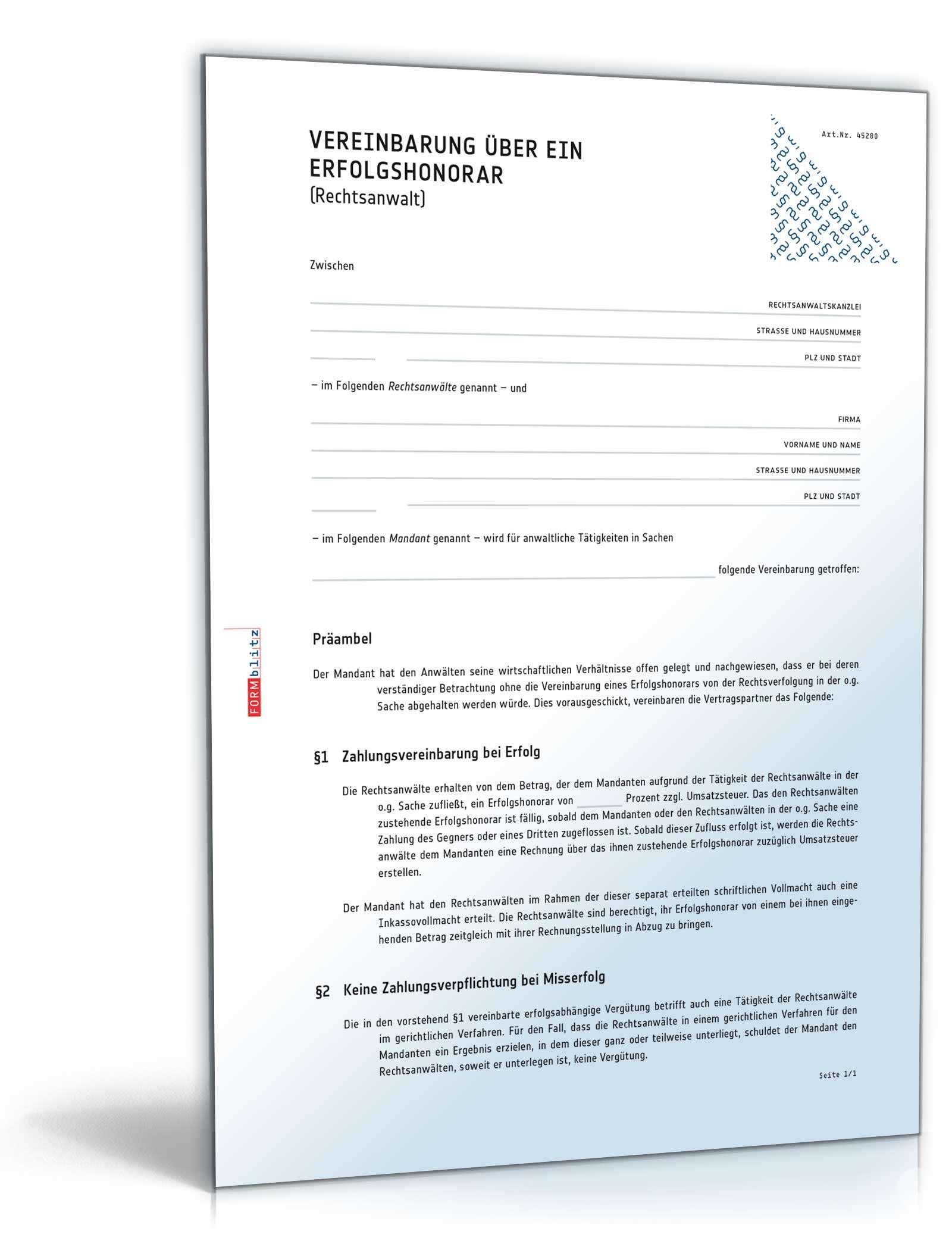 Vereinbarung Erfolgshonorar Rechtsanwalt Vorlage Zum Download