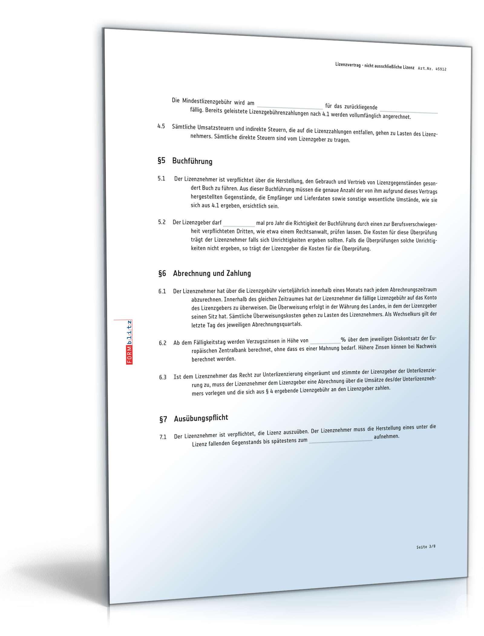 lizenzvertrag seite 03 - Lizenzvertrag Muster
