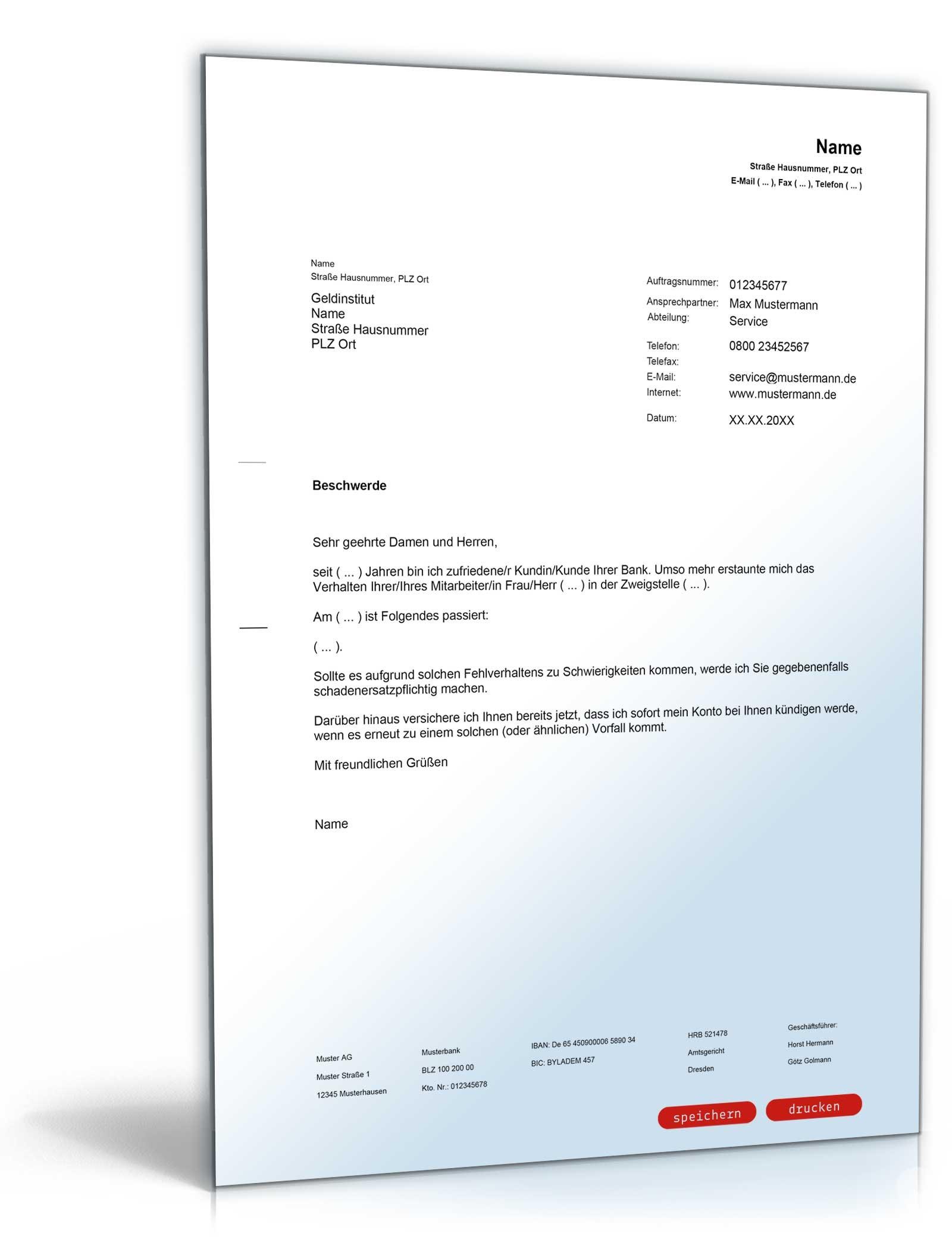 Beschwerde über Einen Bankmitarbeiter Muster Vorlage Zum Download