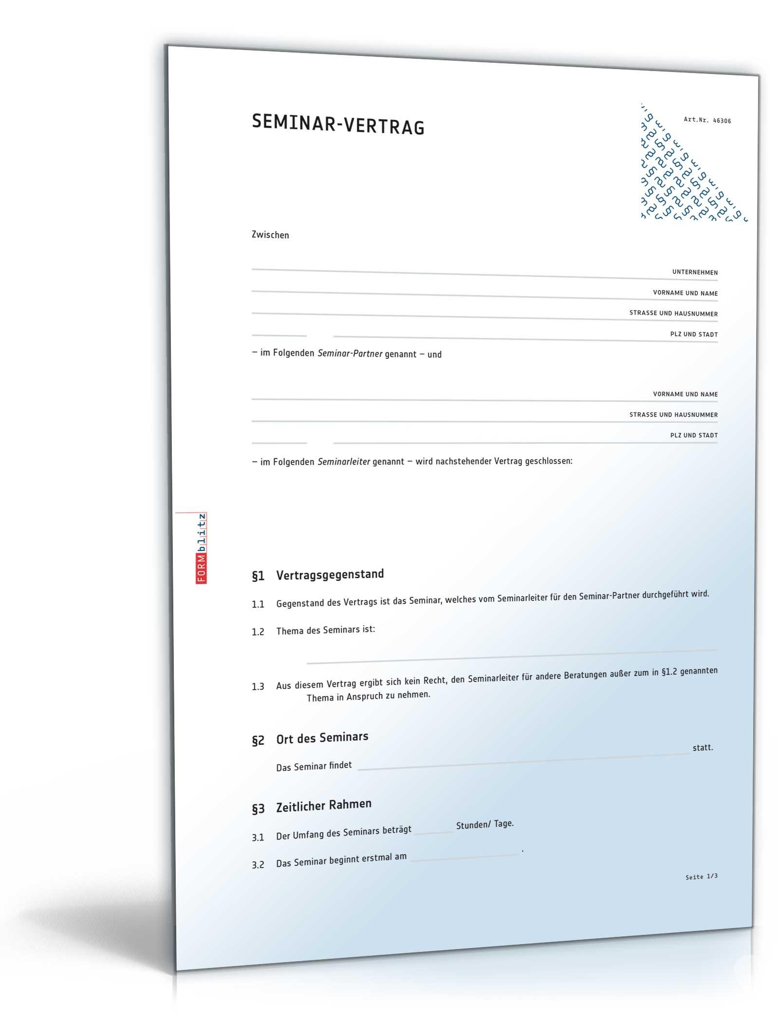 Seminarvertrag | Muster zum Download