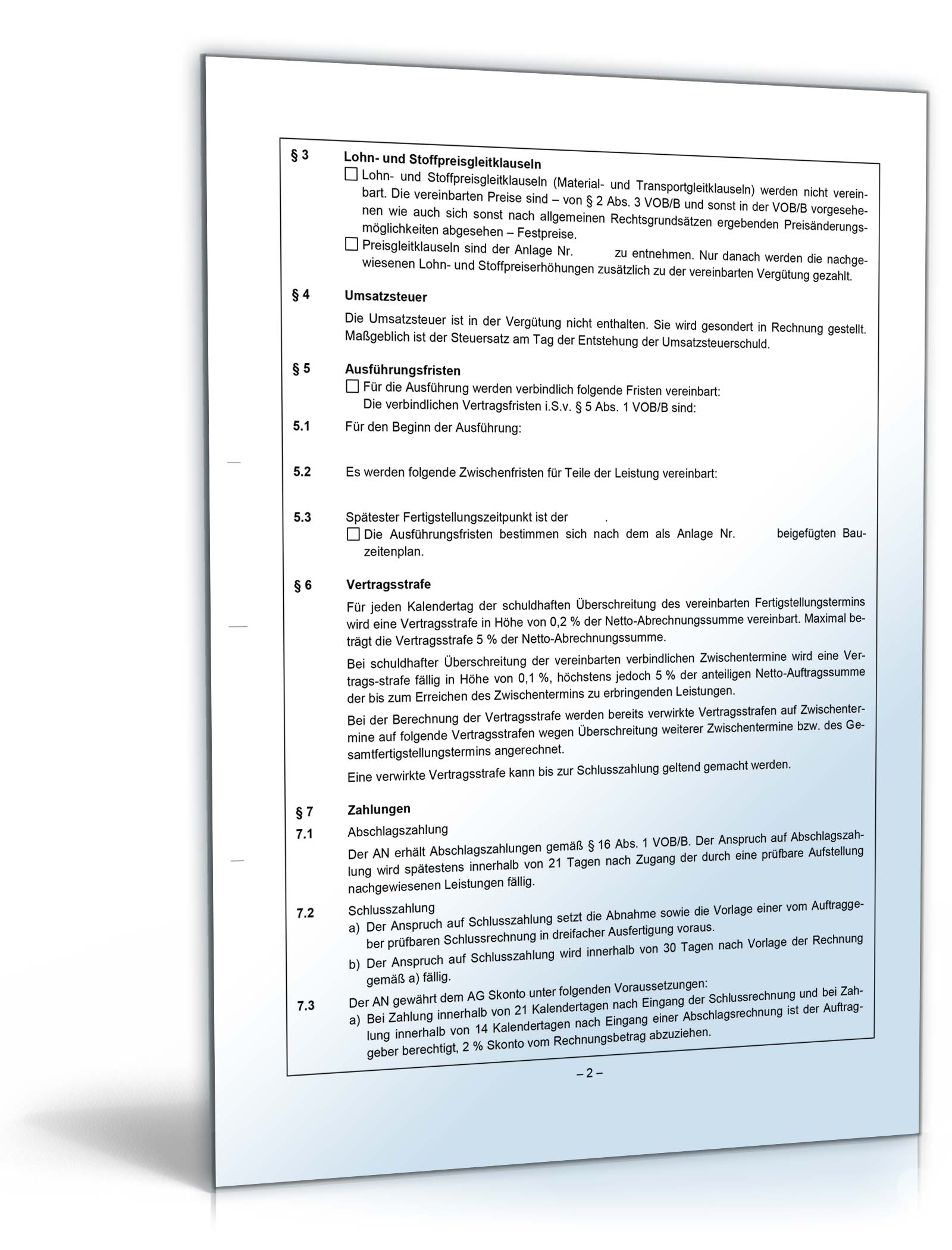 Vob Bauvertrag Muster Zum Download