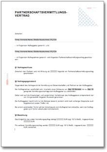 Partnervermittlung vertrag vorlage