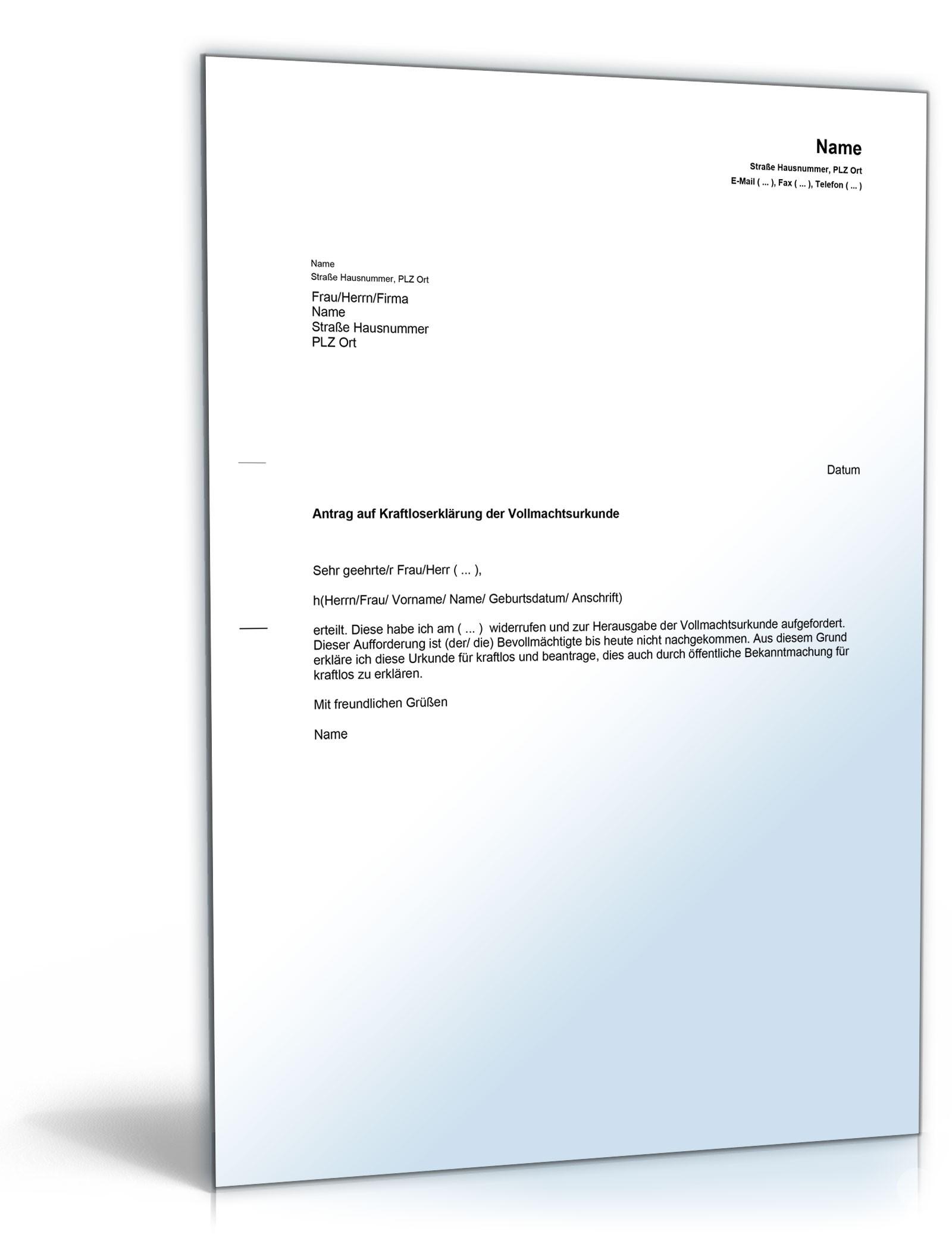Antrag Auf Kraftloserklärung Vollmacht Musterbrief Zum Download