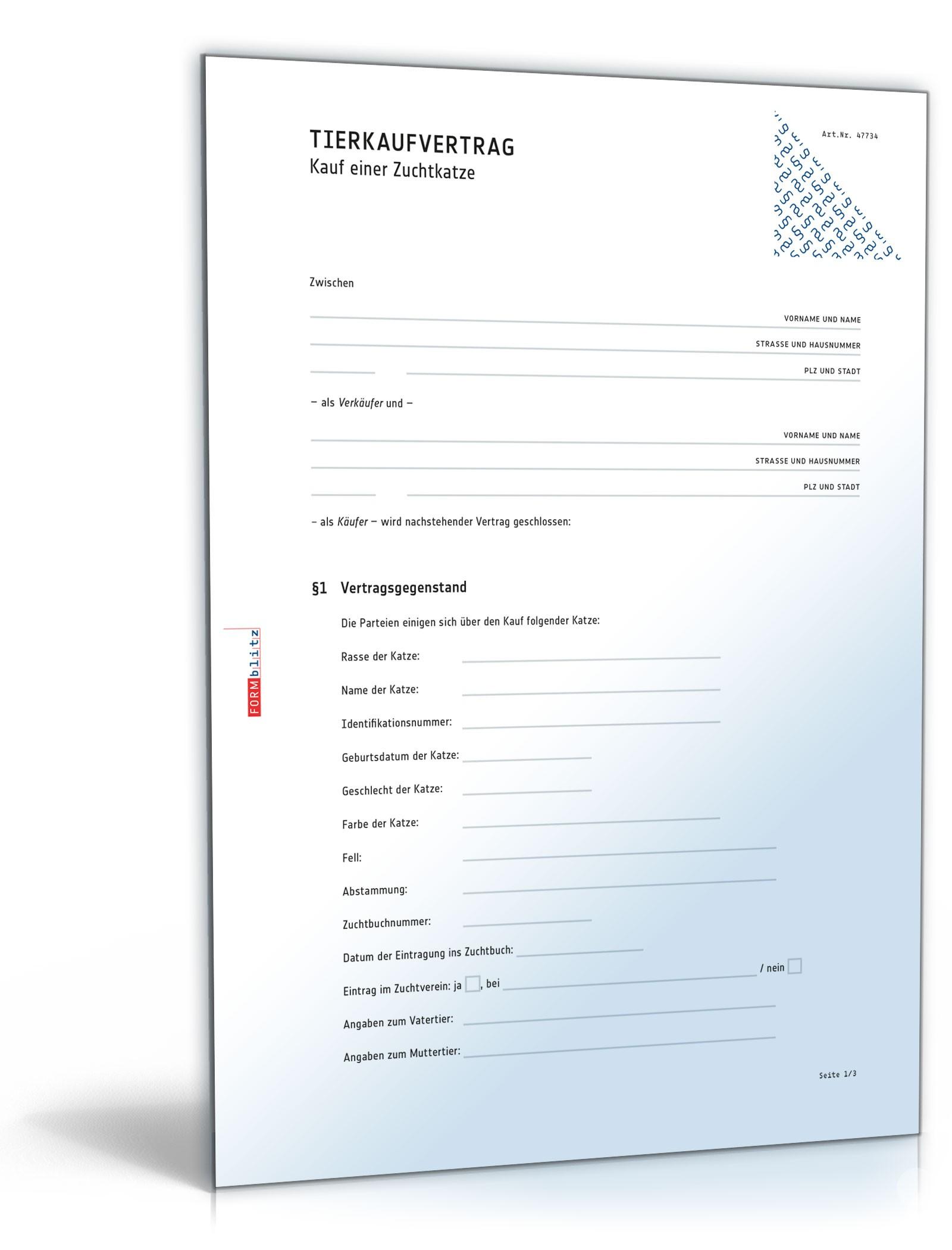 Kaufvertrag Zuchtkatze | Muster zum Download