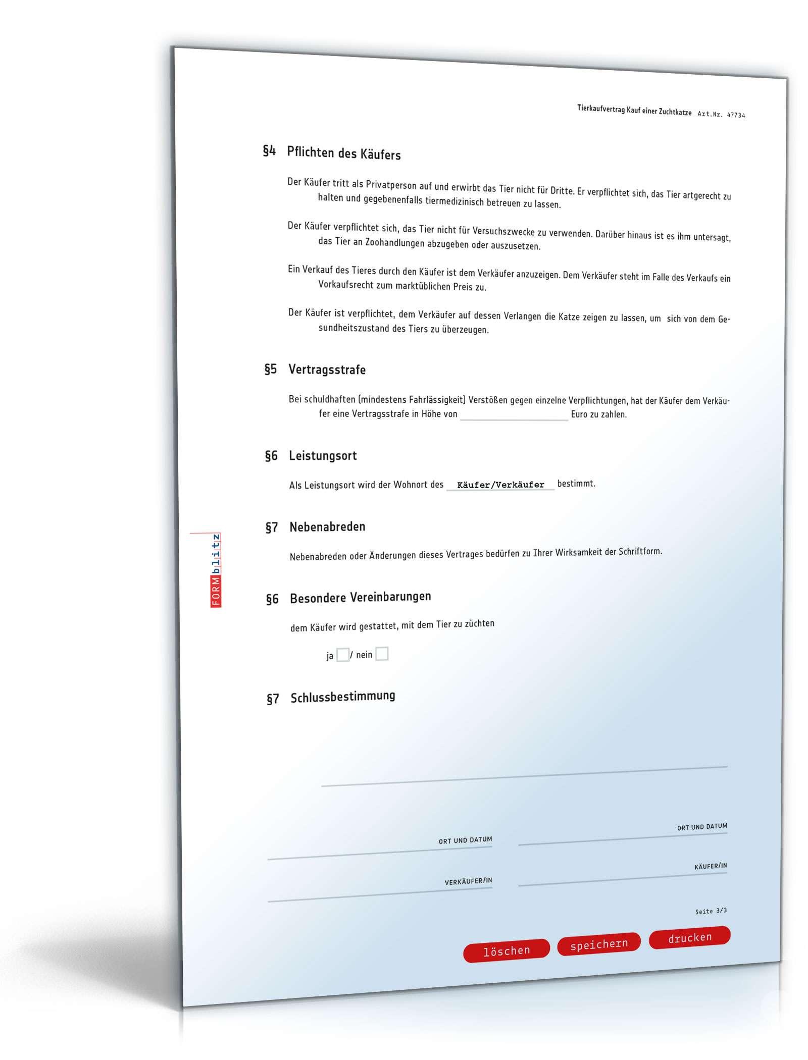 Kaufvertrag Zuchtkatze Muster Zum Download