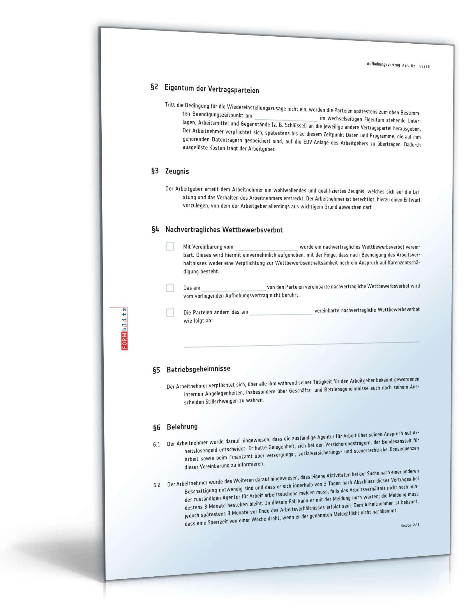 Probezeitverlängerung Durch Aufhebungsvertrag Muster Downloaden