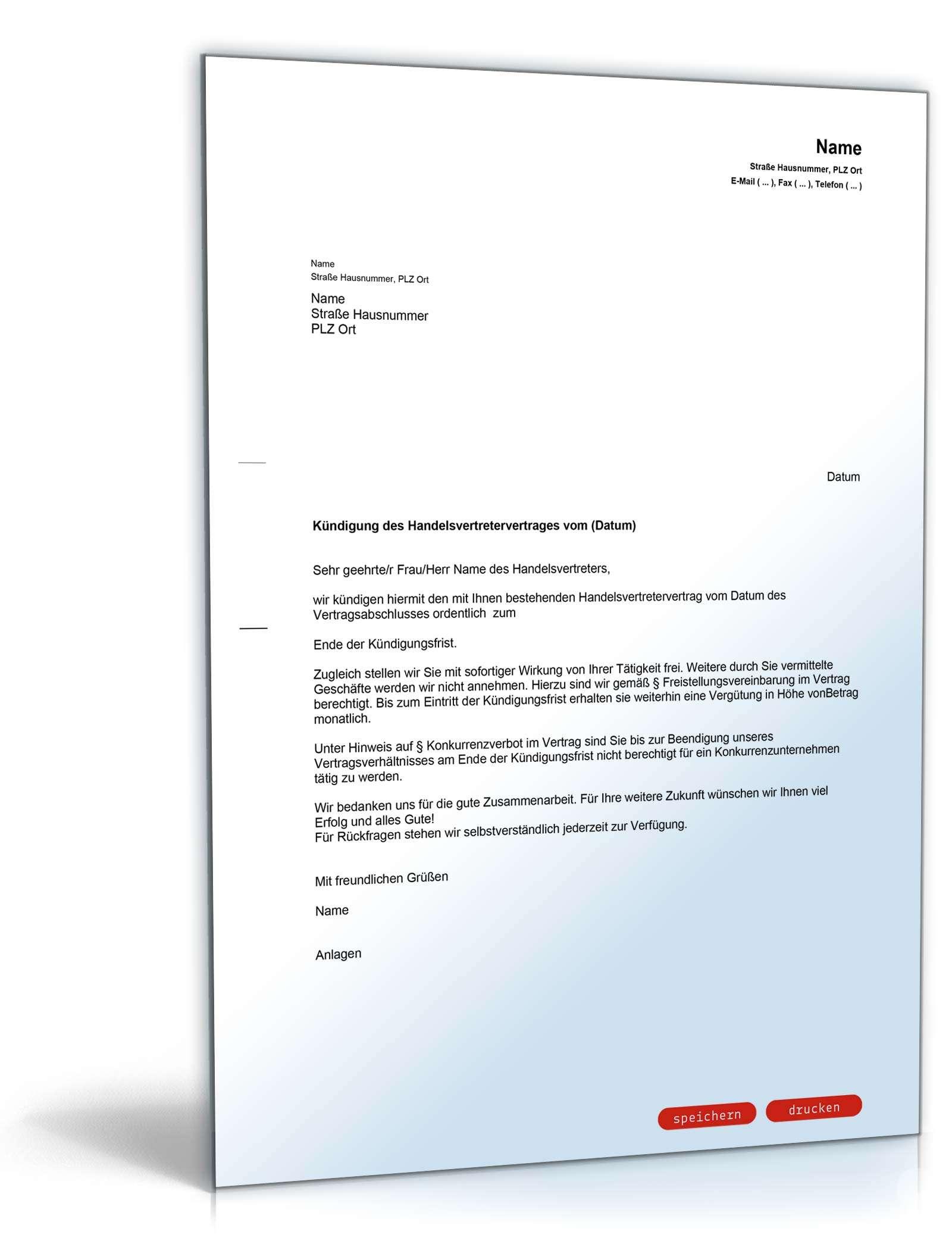 fristgeme kndigung handelsvertreter - Muster Kundigungsschreiben