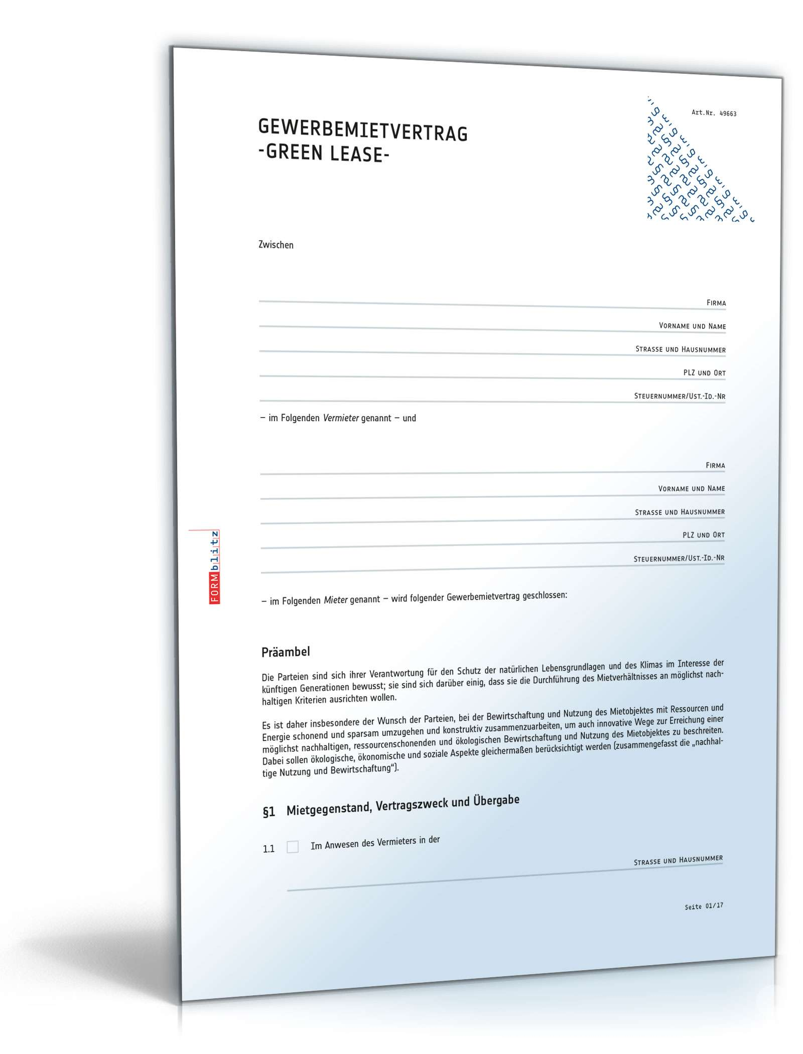 Grüner Mietvertrag Gewerbe Rechtssicheres Muster Zum Download