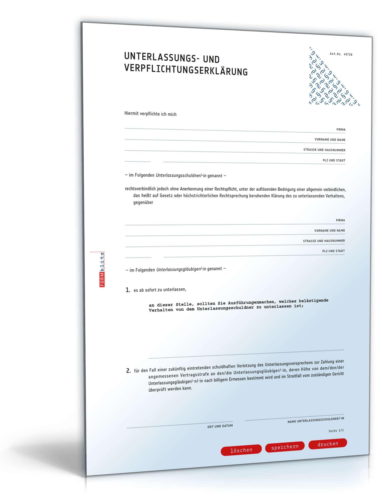 unterlassungserklrung wegen belstigung - Strafbewehrte Unterlassungserklarung Muster