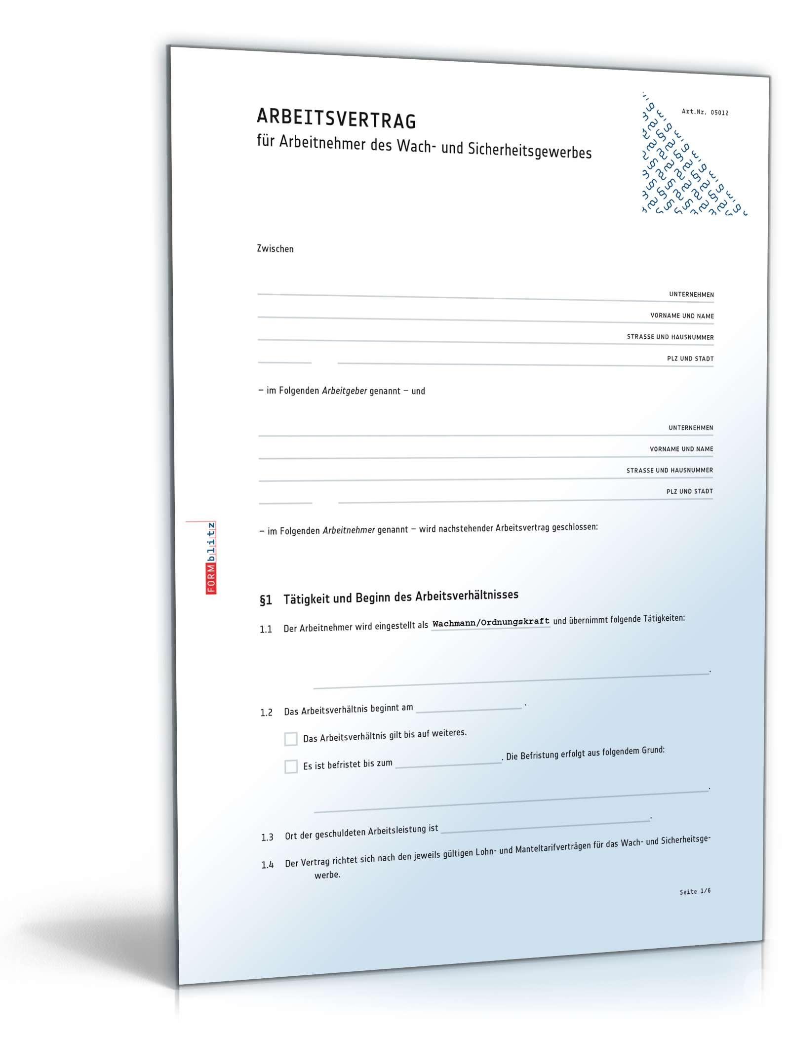 Arbeitsvertrag Bewachungsgewerbe Muster Zum Download