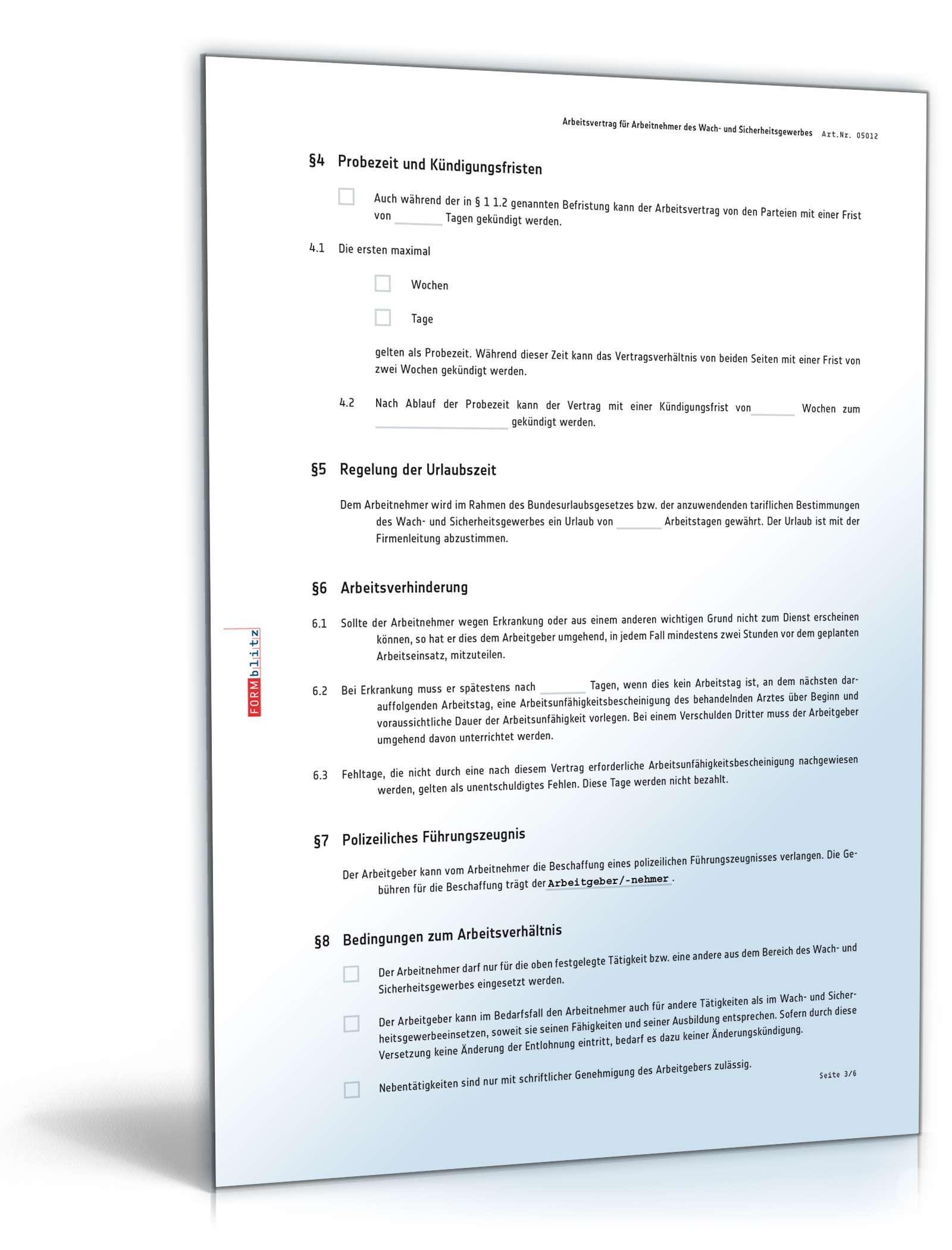 Arbeitsvertrag Bewachungsgewerbe | Muster zum Download
